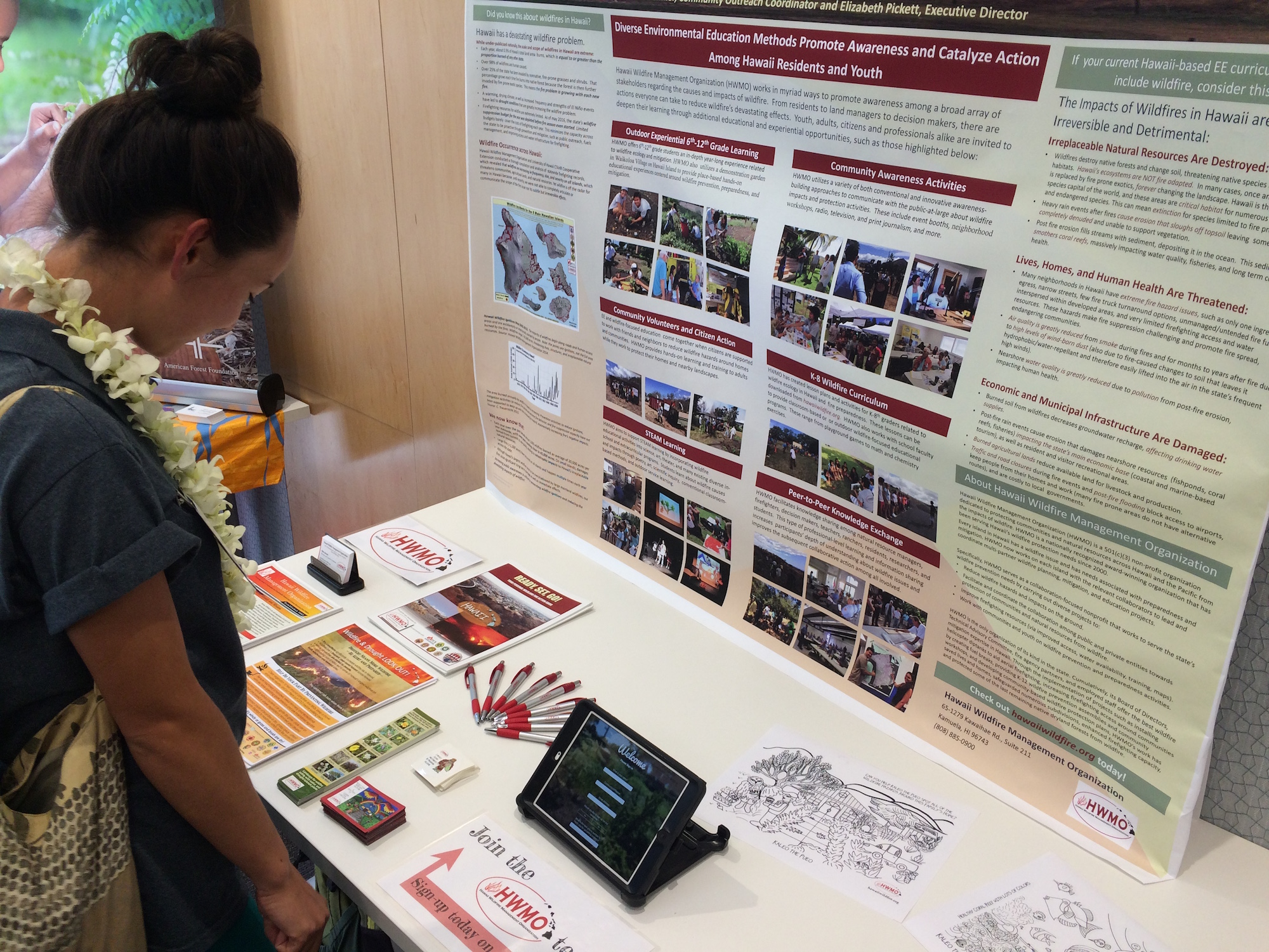 HWMO's information booth was a hub for wildfire curricula information.