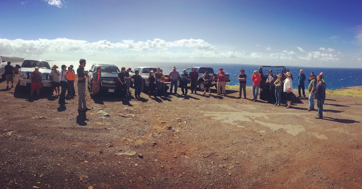 PFX FIeld Tour begins at lookout on the eastern makai side of Kahikinui.
