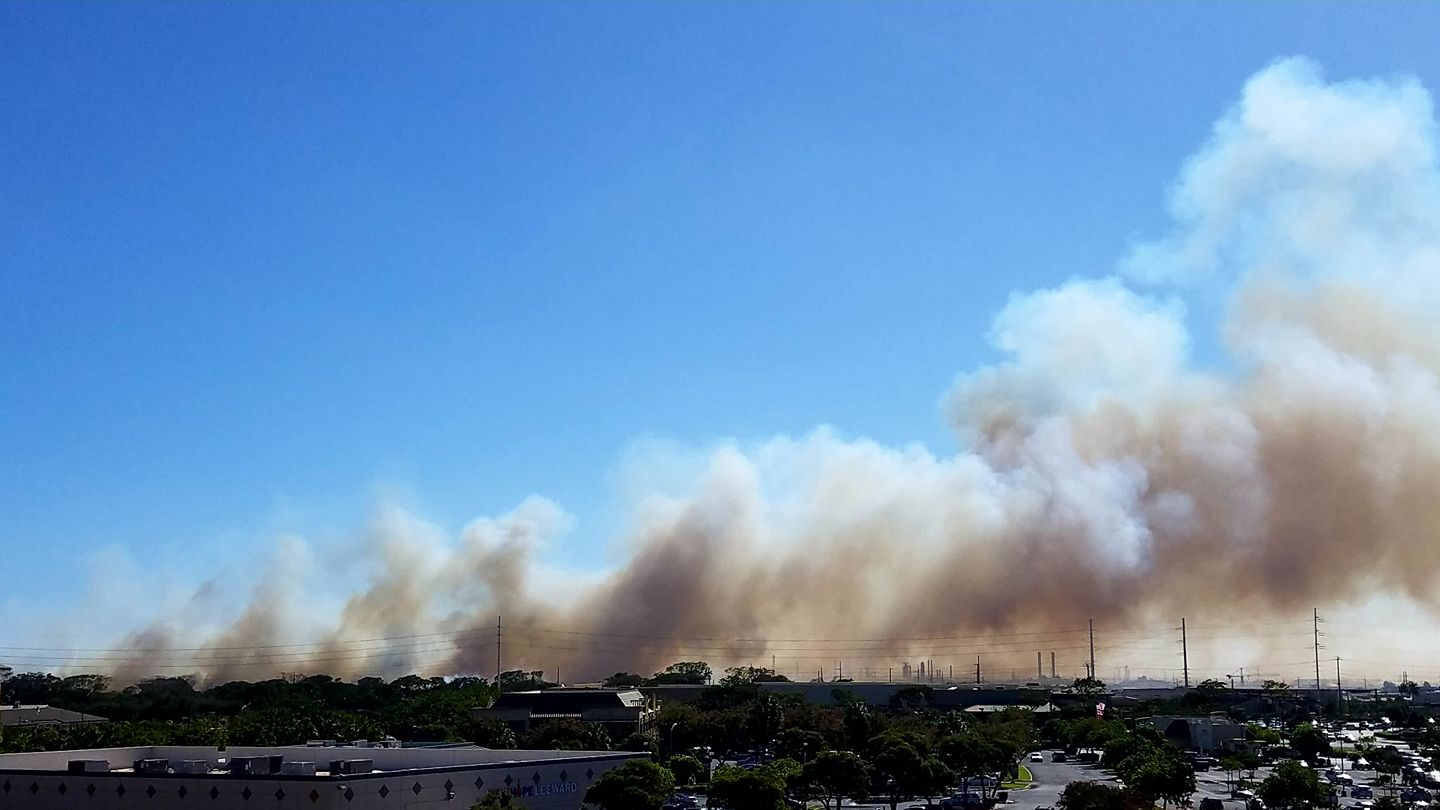 """""""Smoke is seen coming from a fire in the Kalaeloa area (Image: Carrie Cavallo)"""""""