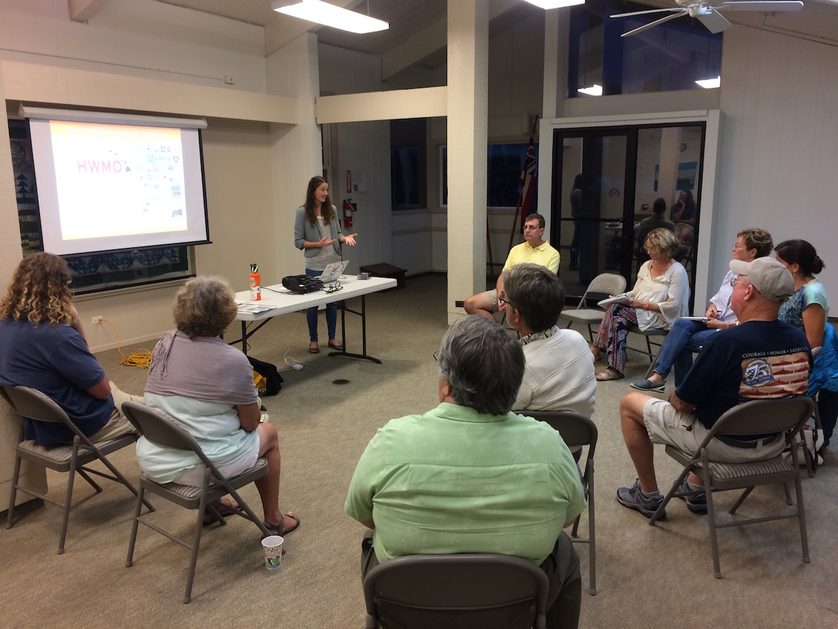 Elizabeth Pickett, HWMO, gives background on community-wide wildfire hazards in Waikoloa.