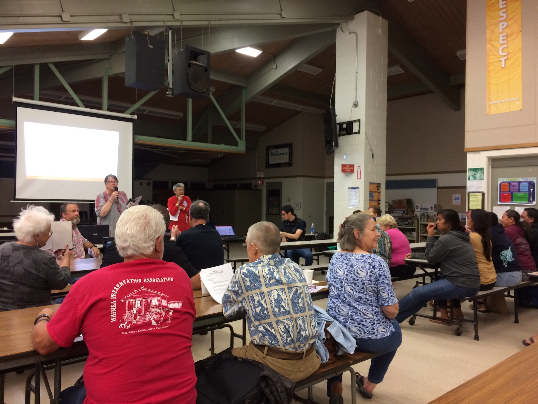 Waimea Community Association members and Waimea residents packed the cafeteria on May 4 and tuned into a short presentation from HWMO on Wildfire Prep Day.