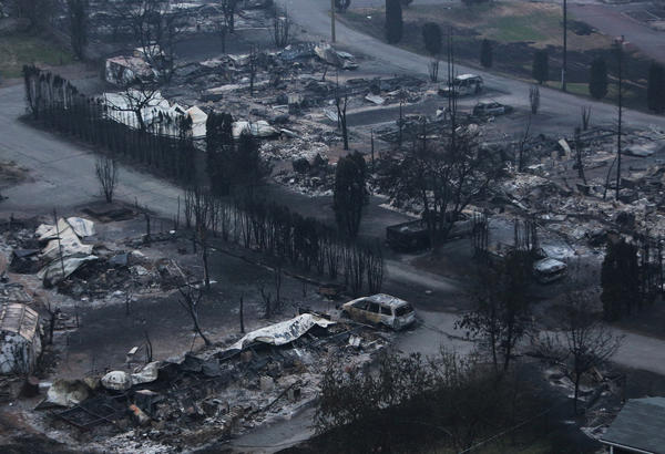 """The Boston Flats trailer park was destroyed by a wildfire in Boston Flats, British Columbia, Canada on Monday."""