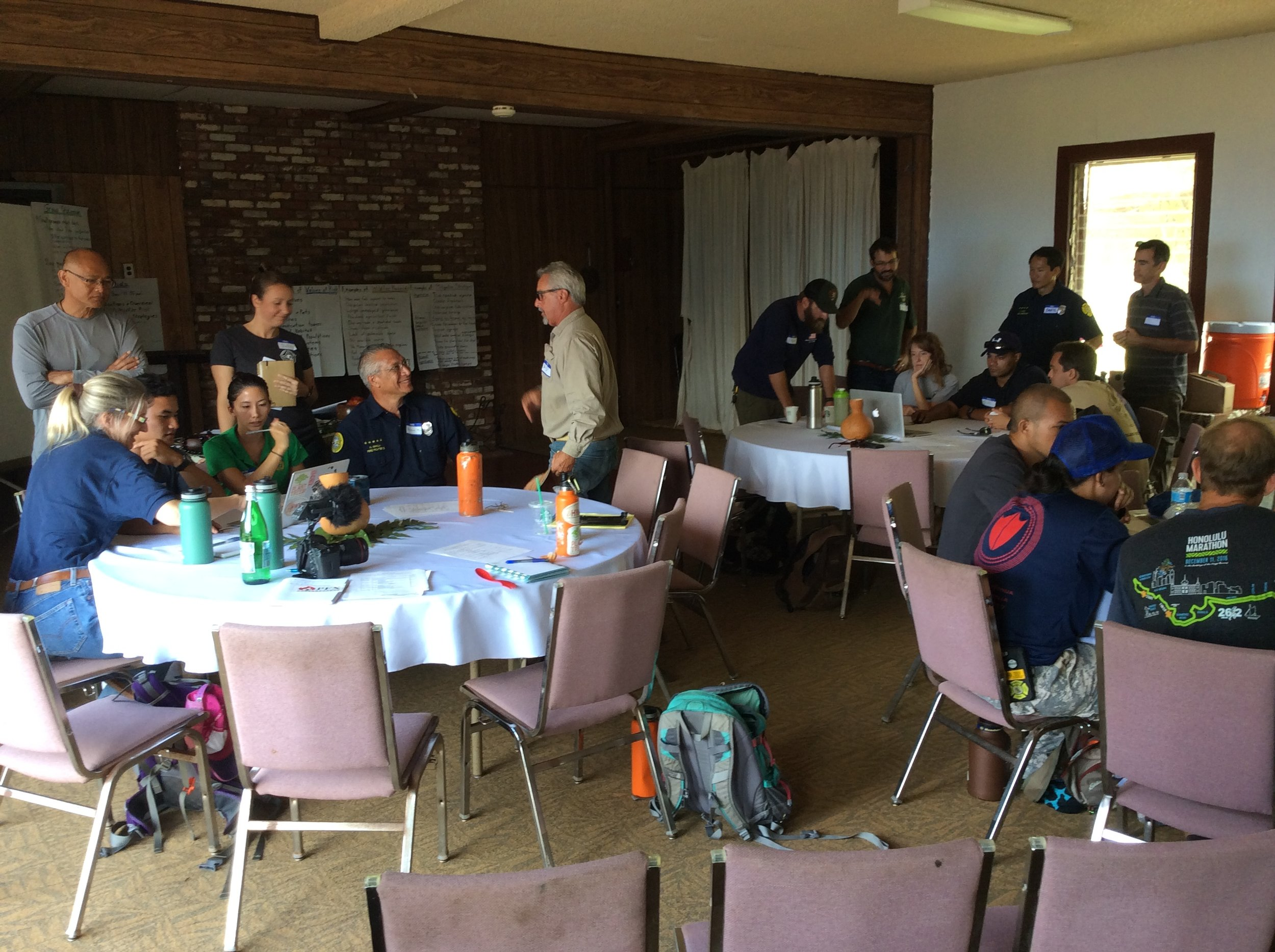 Breaking out into groups to discuss wildfire mitigation strategies for Palehua.