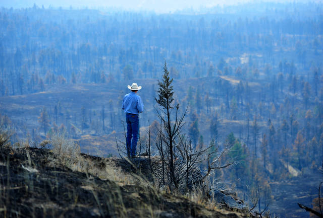 """Tim Weyer tours his ranch, which was consumed by wildfires, Tuesday, in Sand Springs, Mont. Firefighters say they have stopped most of the growth and gained 20 percent containment on the fires that were started last week by lightning."" Credit - Associated Press"