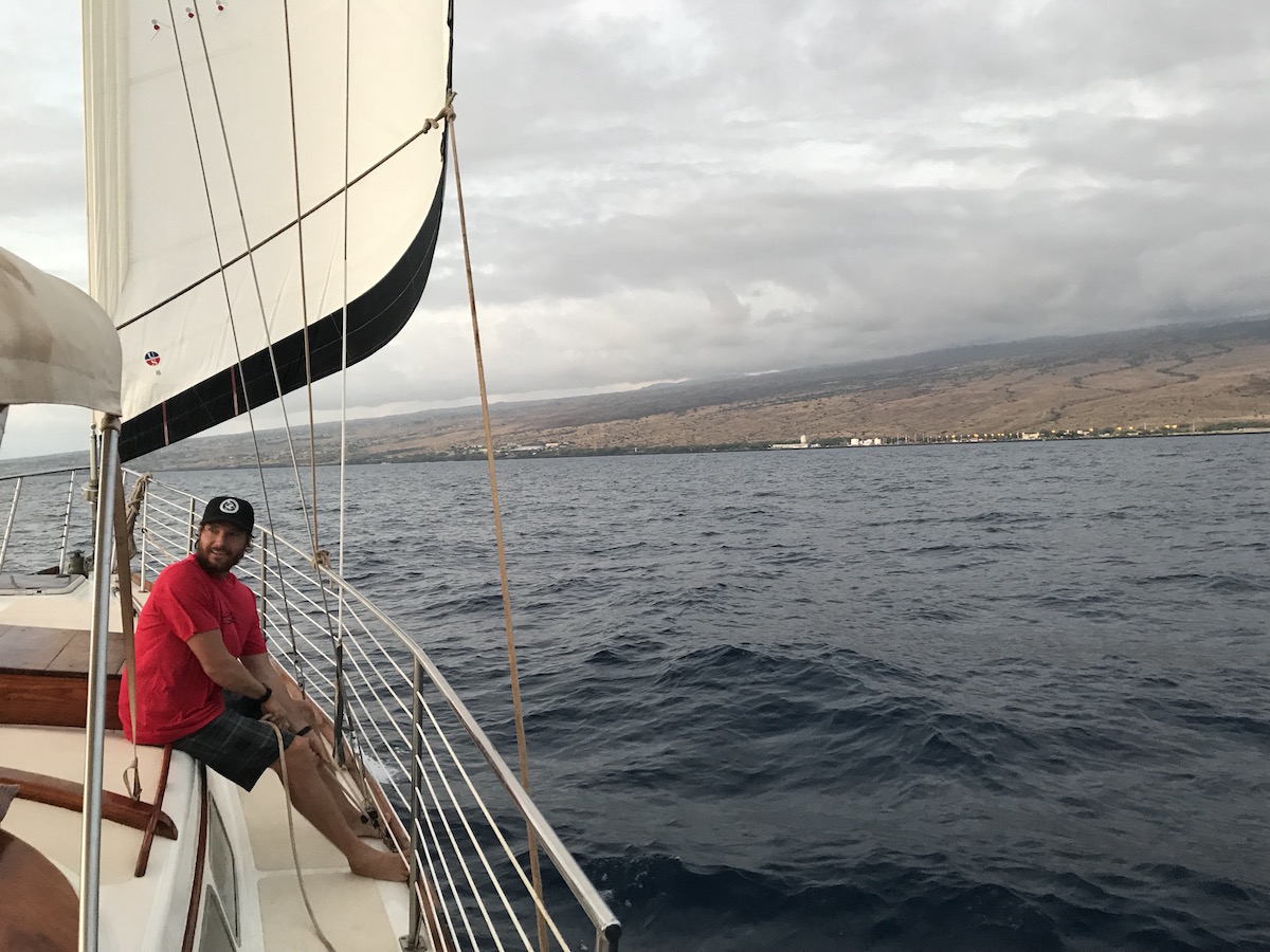 Chad Wiggins of TNC points out mauka to makai connections, while we look out from the ocean towards the coast.