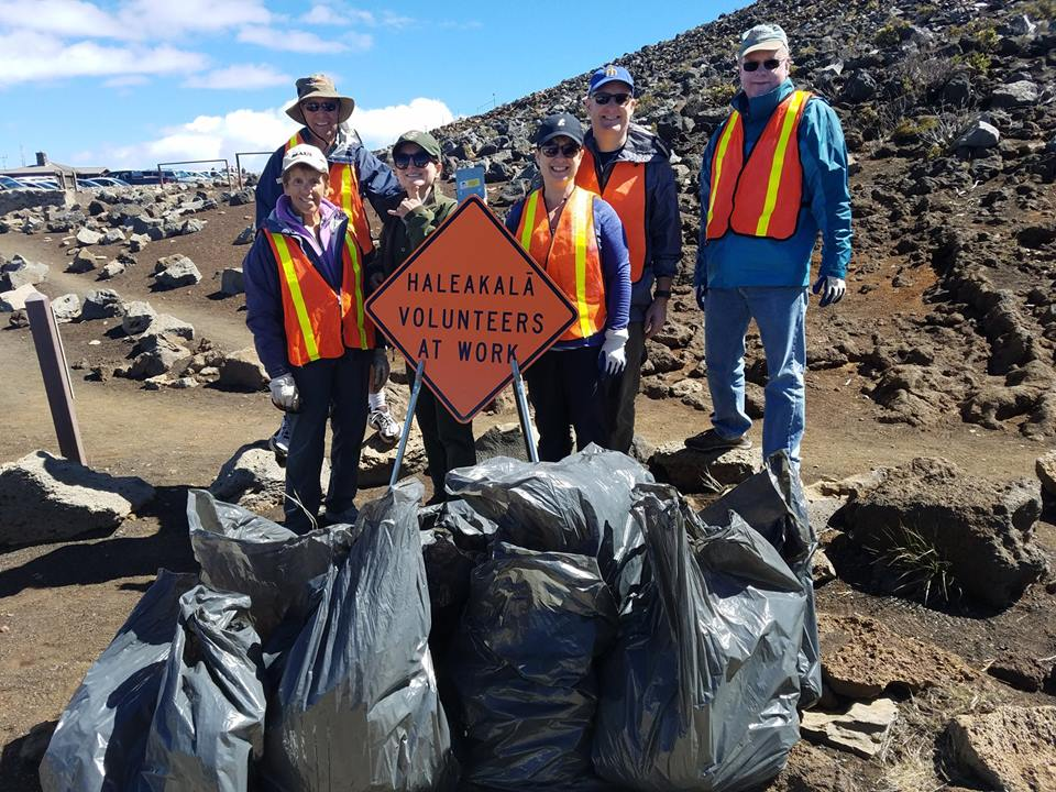 """Volunteers remove invasive plants at summit of Haleakalā."" Credit: Haleakalā NP."