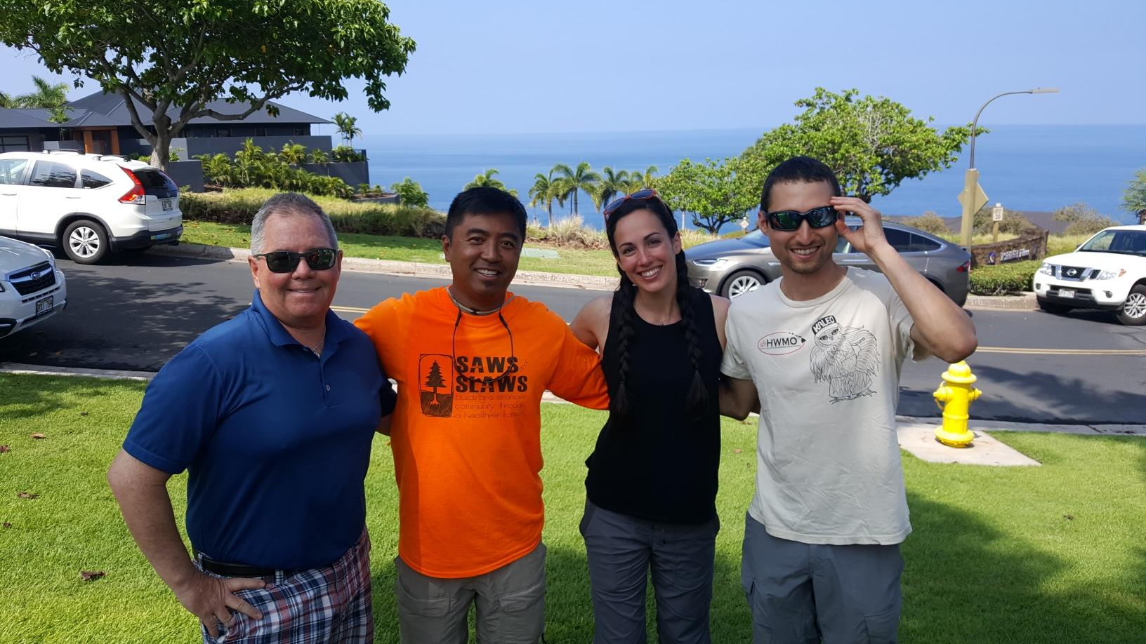 Mahalo (left to right) Tom Welle of NFPA, Cesar Gellido of Saws & Slaws, and Emily Troisi of FAC Learning Network, for coming out to support Kohala Waterfront's efforts!
