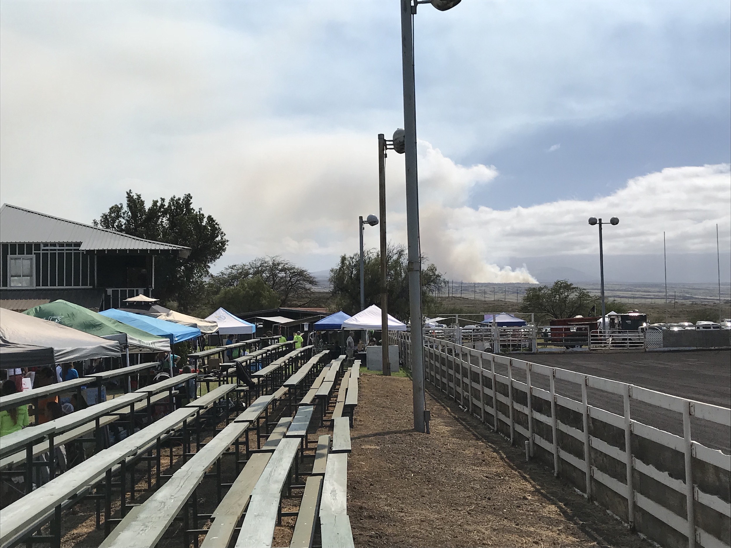 A brushfire quickly grew into a large one during the Wiliwili Festival, most likely started by a lightning strike from several days ago.