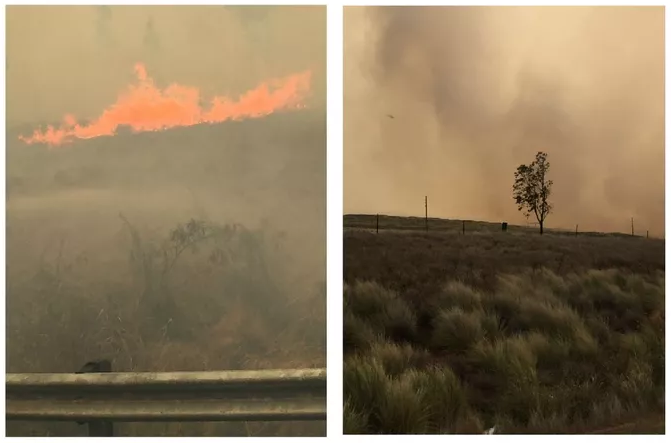 """""""A large fire is blanketing the air in Waikoloa with heavy smoke."""" Credit: Hawaii News Now"""