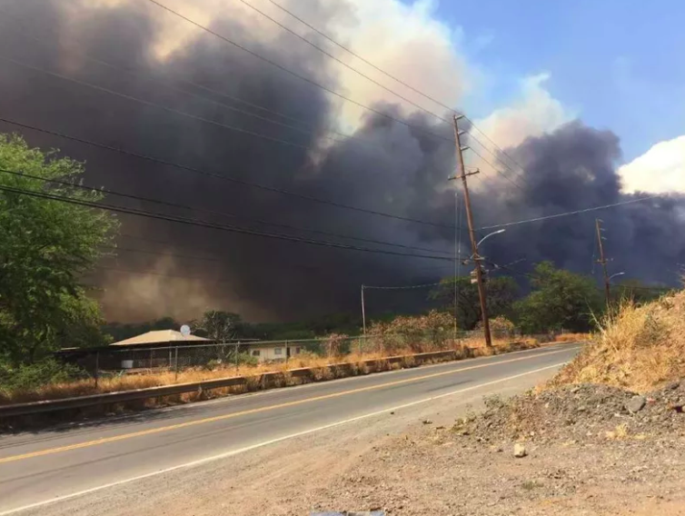 View of fire from Moeha Street. Credit: Tessa Luna / Hawaii News Now