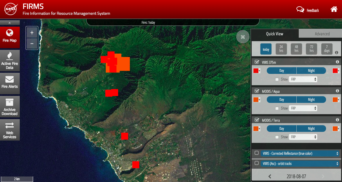 NASA FIRMS satellite imagery of Oahu fires (most current areas that are burning as of Aug. 7 12 pm). Orange and red are different satellites.