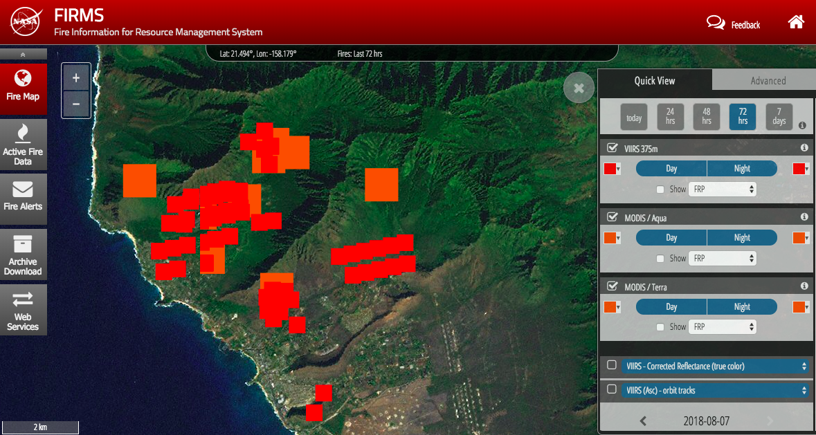 NASA FIRMS satellite imagery of Oahu fires (burn areas since the start of the fires). Orange and red are different satellites.