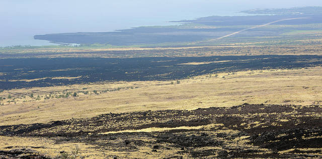 """North Kona, seen from the Highway 190 scenic lookout, is brown and dry from the ongoing drought."" (Laura Ruminski/West Hawaii Today)"