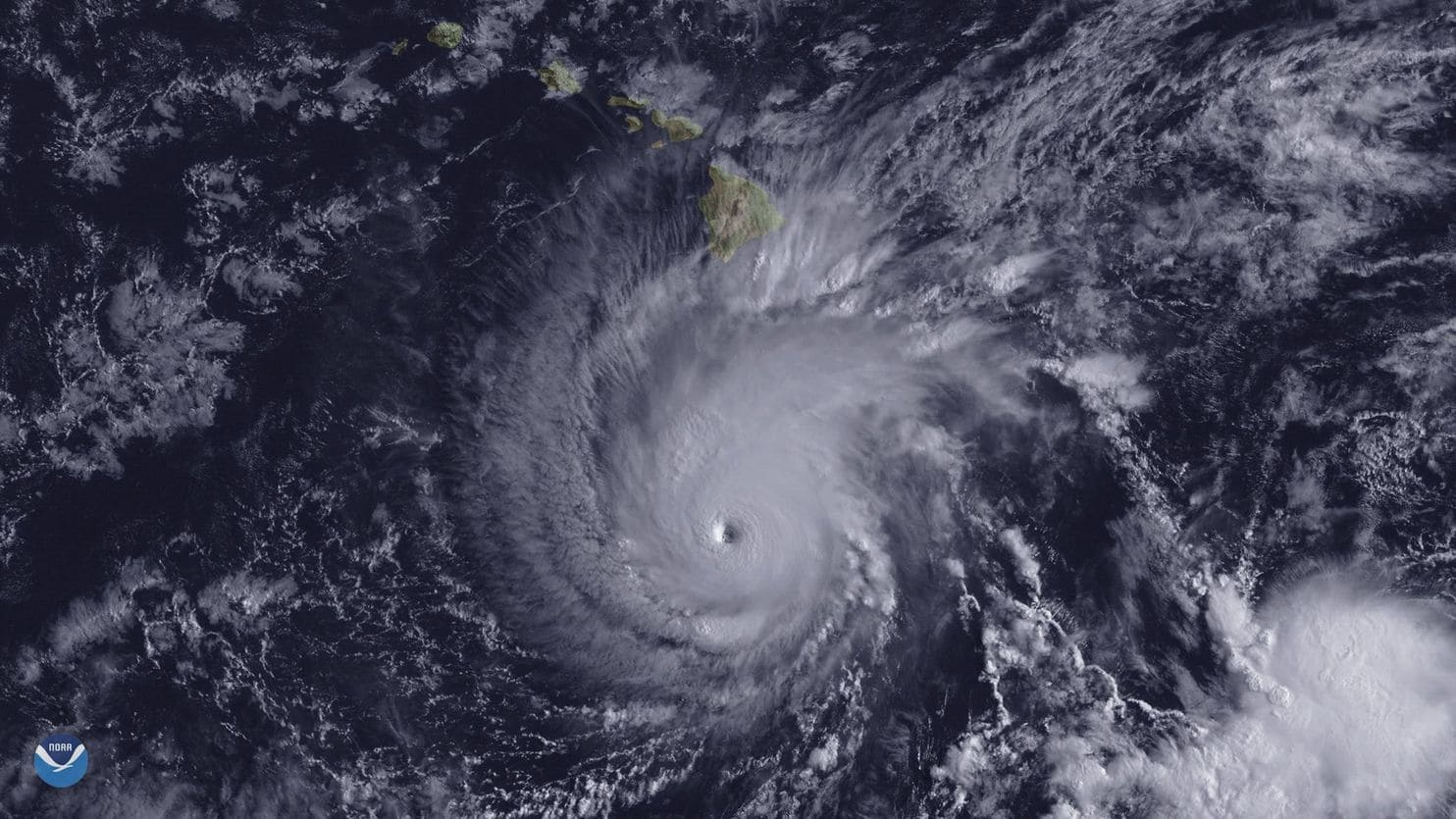 """An image by NOAA's GOES-15 satellite shows Hurricane Lane when it was about 300 miles south of Hawaii's Big Island on Aug. 22. (National Oceanic and Atmospheric Administration/EPA-EFE/Shutterstock)"""