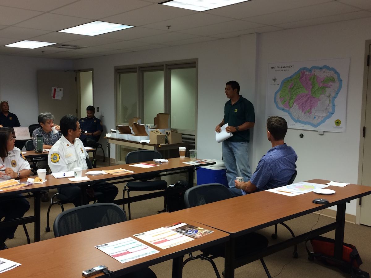 Kauai Brushfire Meeting brings together government, NGO, and local business representatives together to keep each other updated on the latest wildfire news and management projects. Photos are from the 2016 meeting.