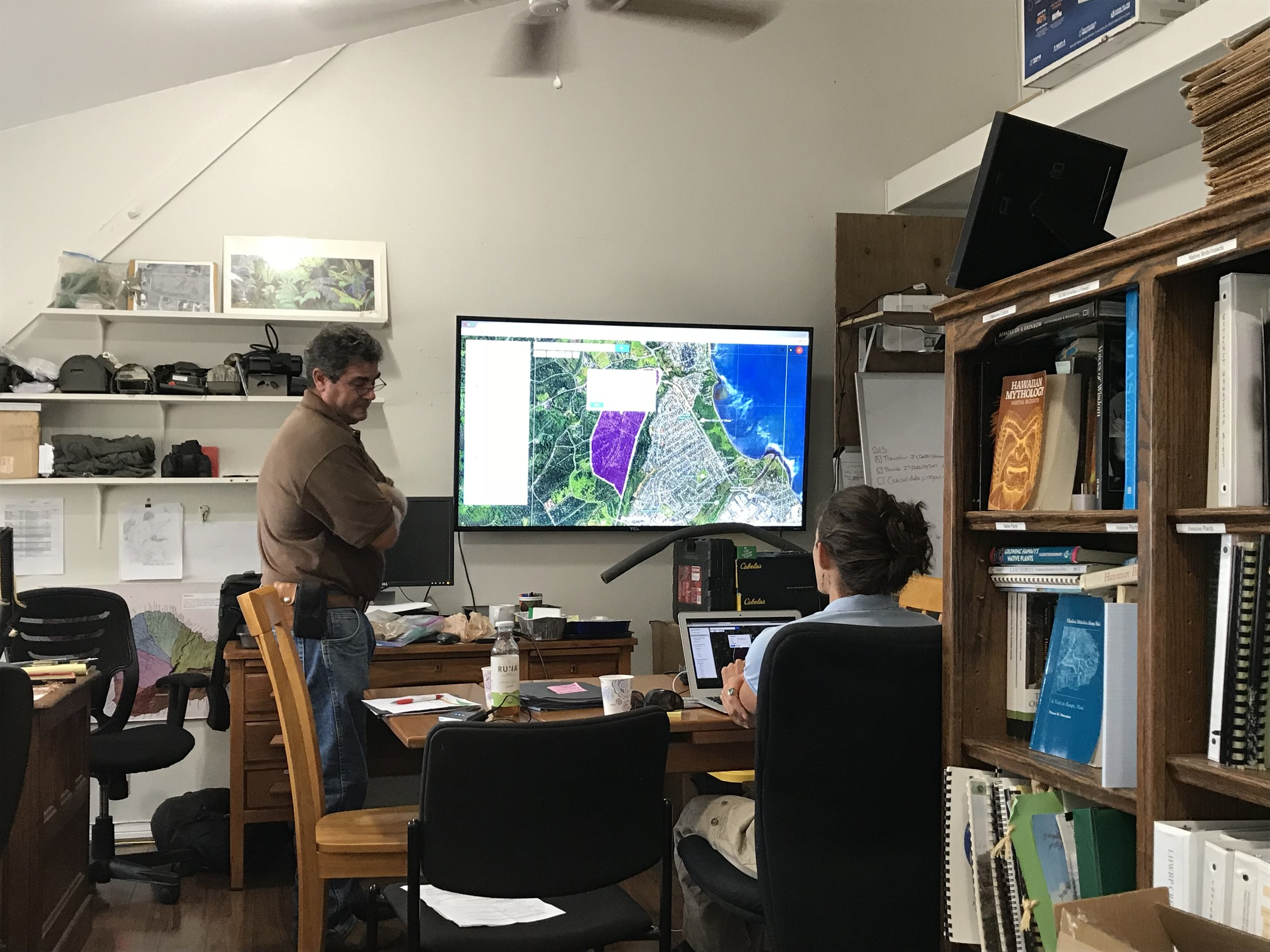 Mapping at the LHWRP office with members of the ranching community on Maui.
