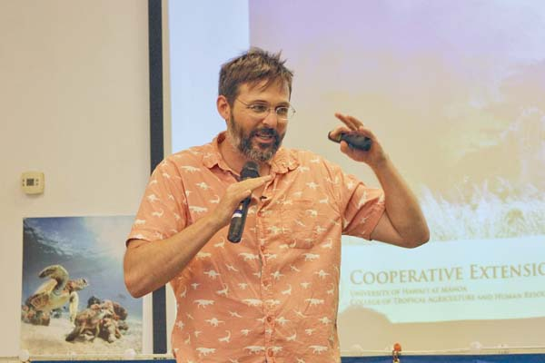 Dr. Trauernicht gives background on the wildfire issue in Maui and across the state. Credit: The Maui News