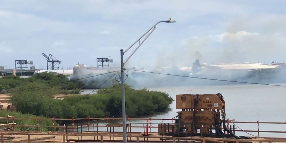 Sand Island fire on March 9. Credit: Hawaii News Now