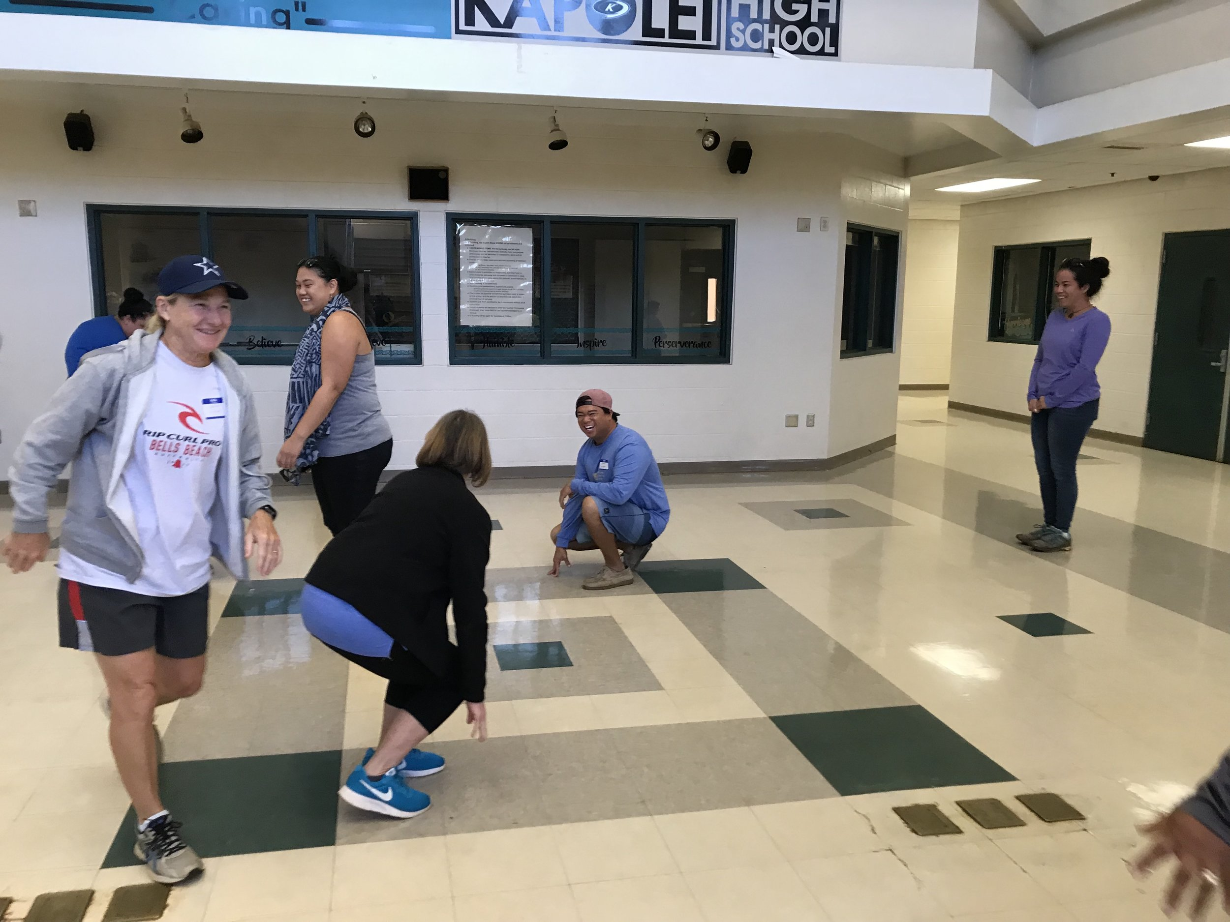 "West Oahu teachers play a round of ""Fire Tag."""