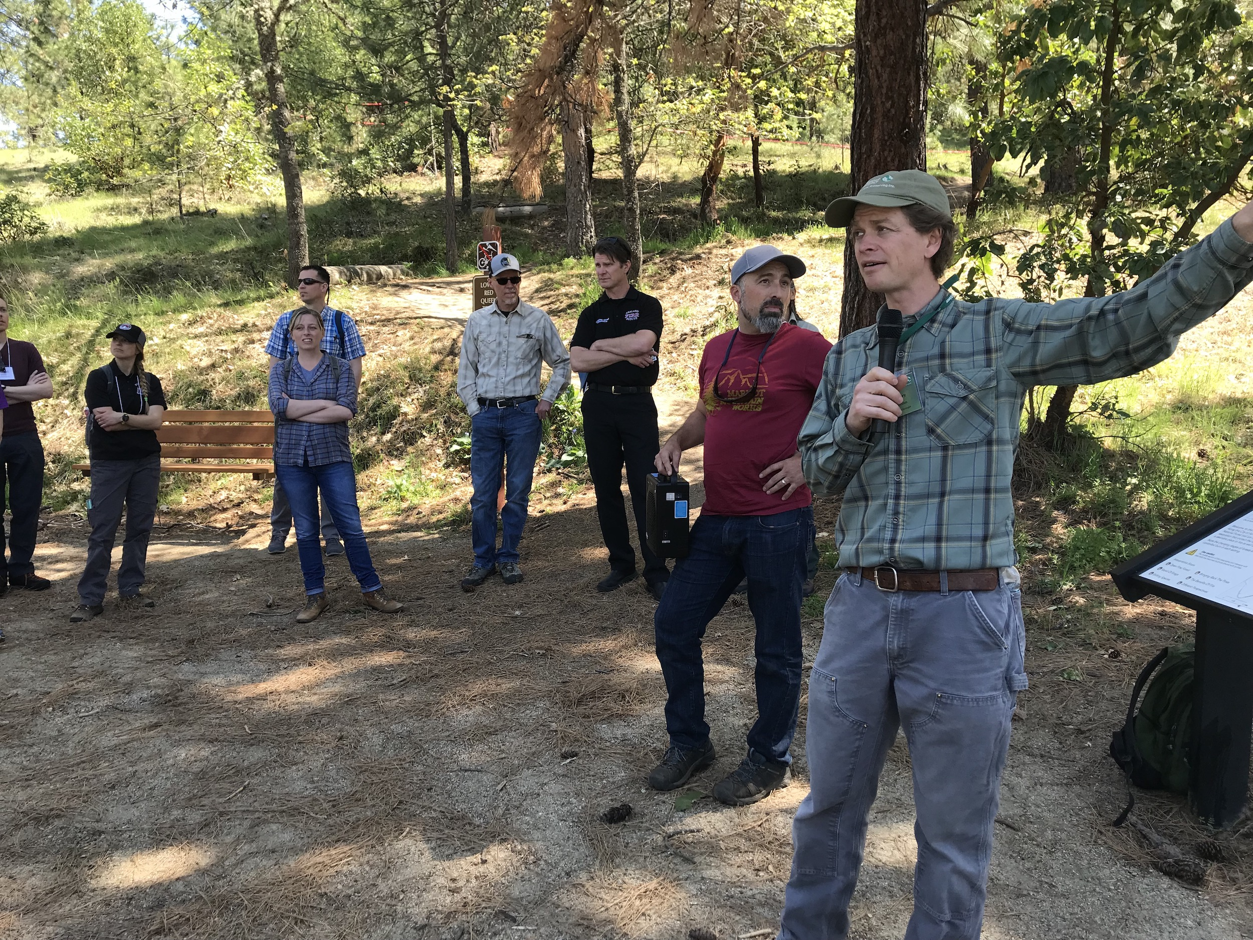 On a captivating and education field tour of Lithia Park where a combination of methods to reduce wildfire hazards including prescribed fire are being used to restore the watershed.