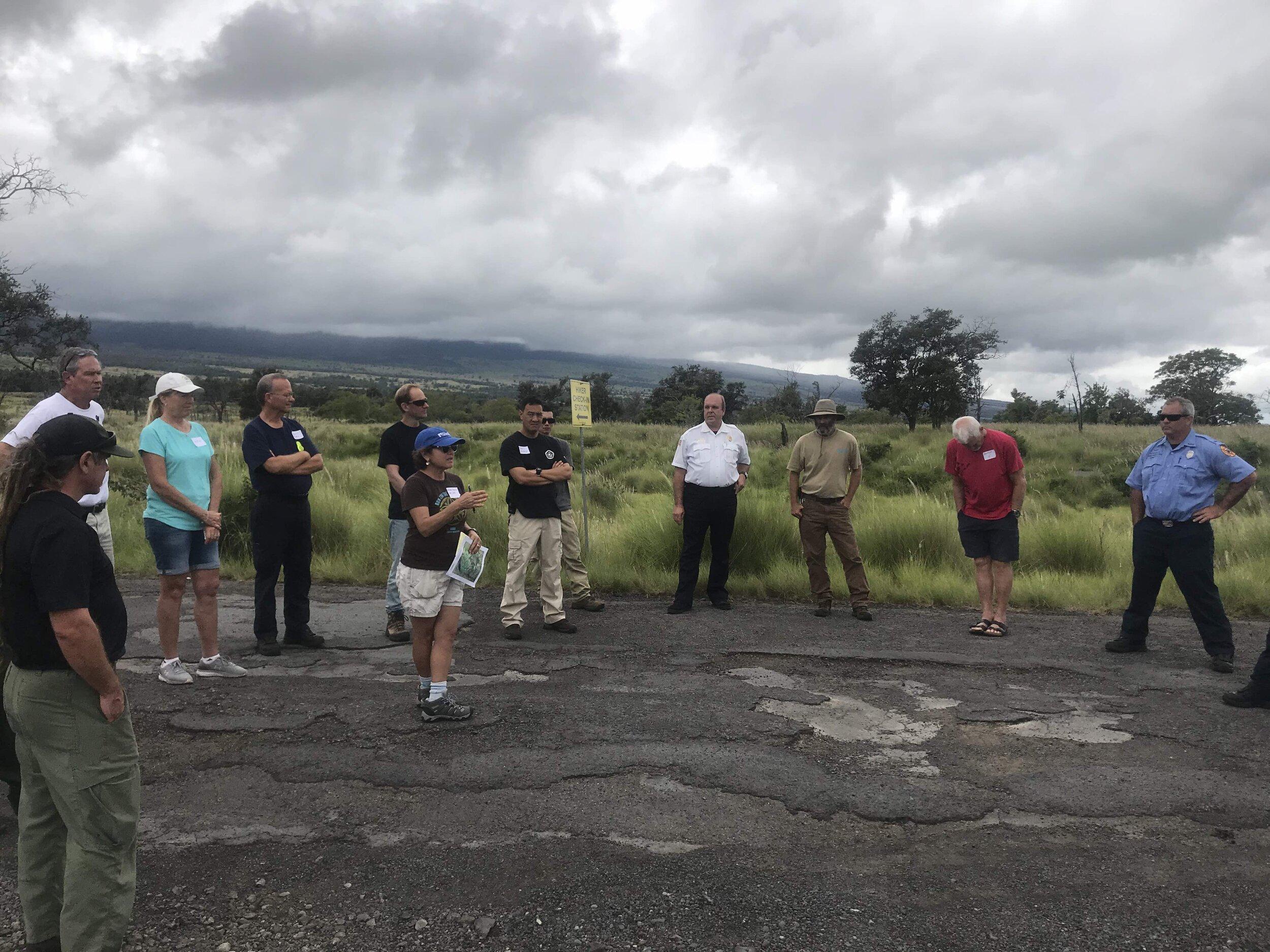 Wanda Rowan, Puʻu Anahulu Resident sharing her knowledge of wildfire in the area.