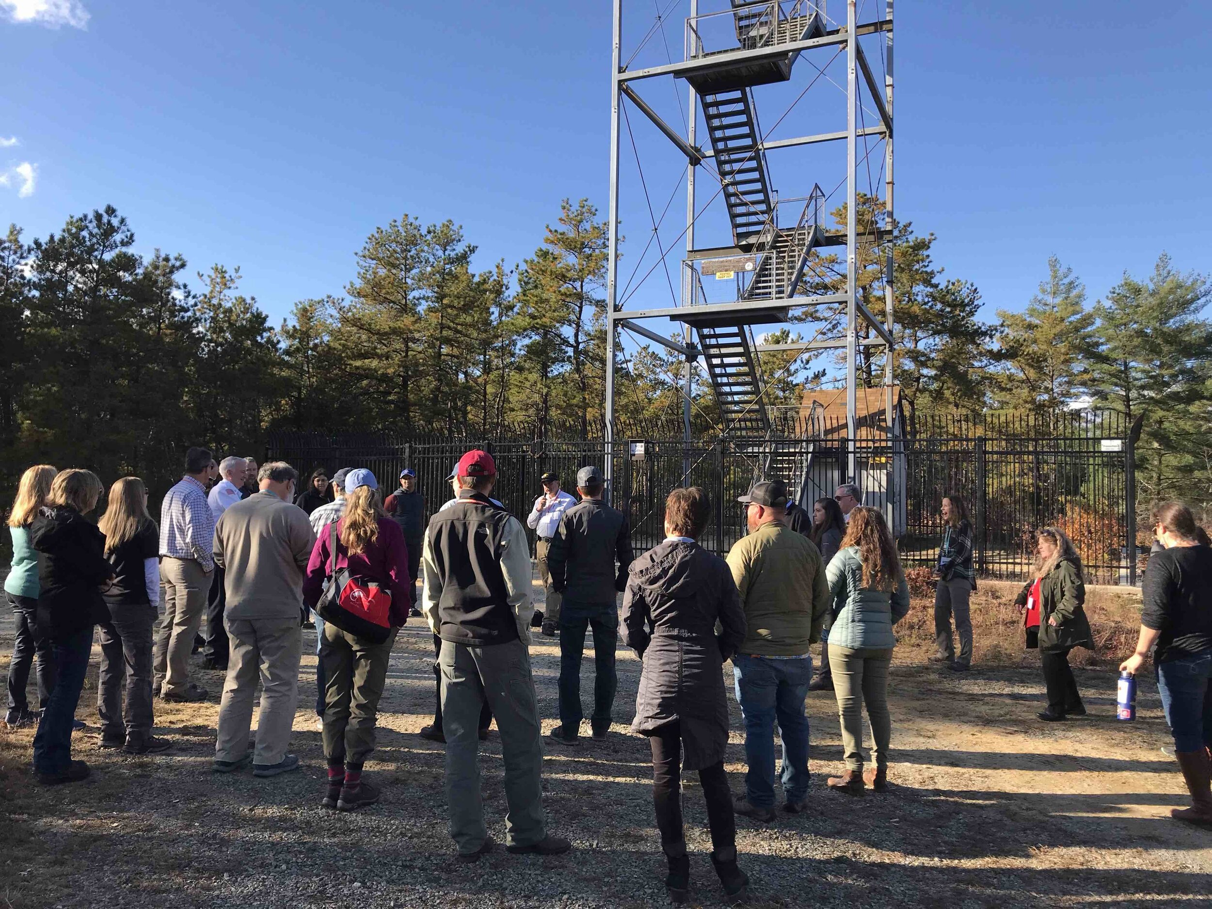 Wildfire lookout towers are still in use throughout the state of Massachusetts today. This was one of the stops on an information-packed field trip into the Myles Standish State Park.