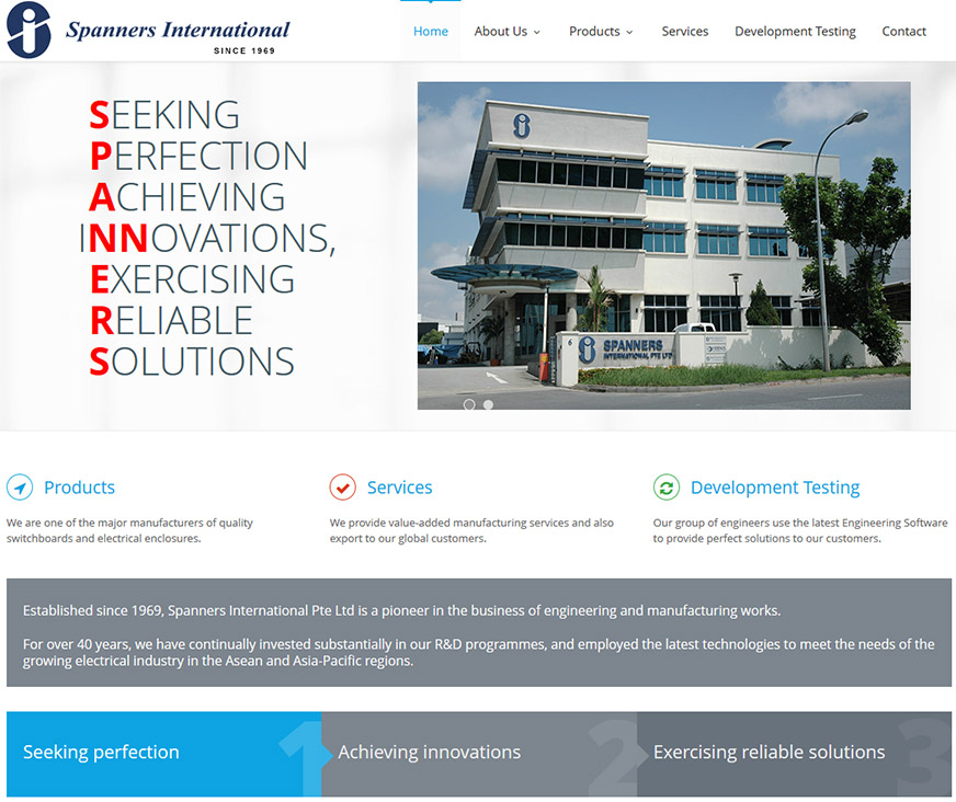 Copywriting & Design for the Spanners International website
