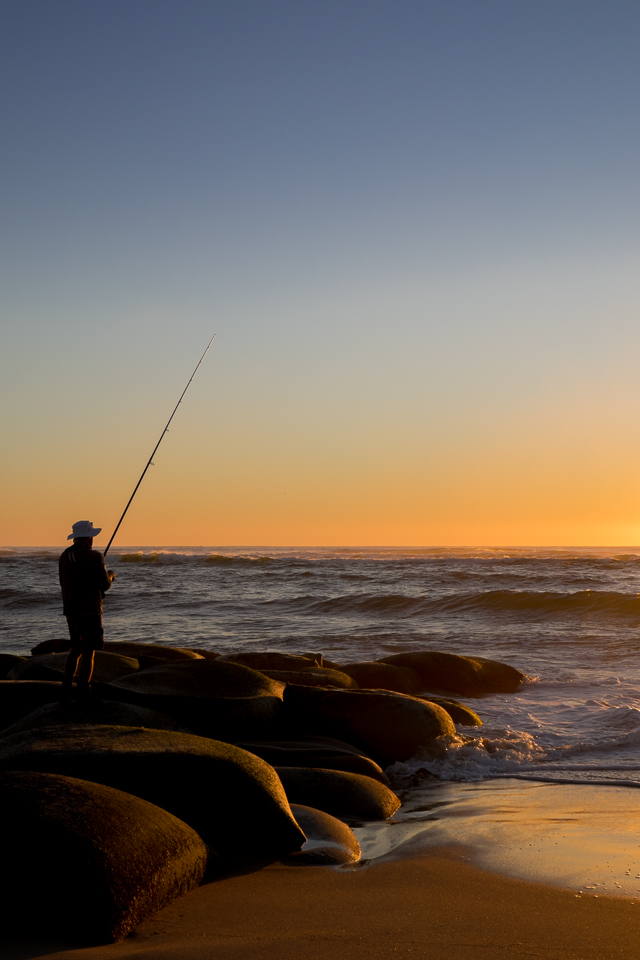 Fisherman at dawn at Cotton Tree on the Sunshine Coast