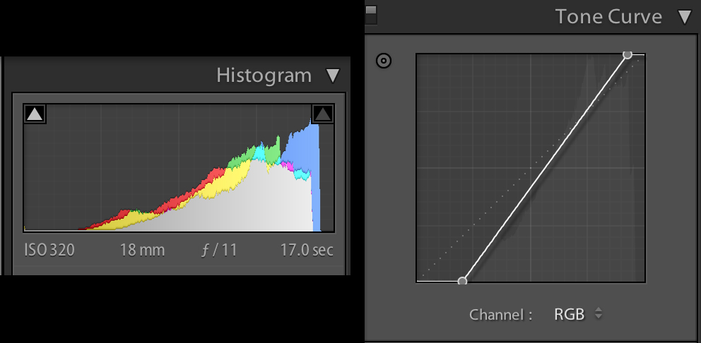 Original histogram (left) and the curve tool (right) with adjusted black and white anchor points
