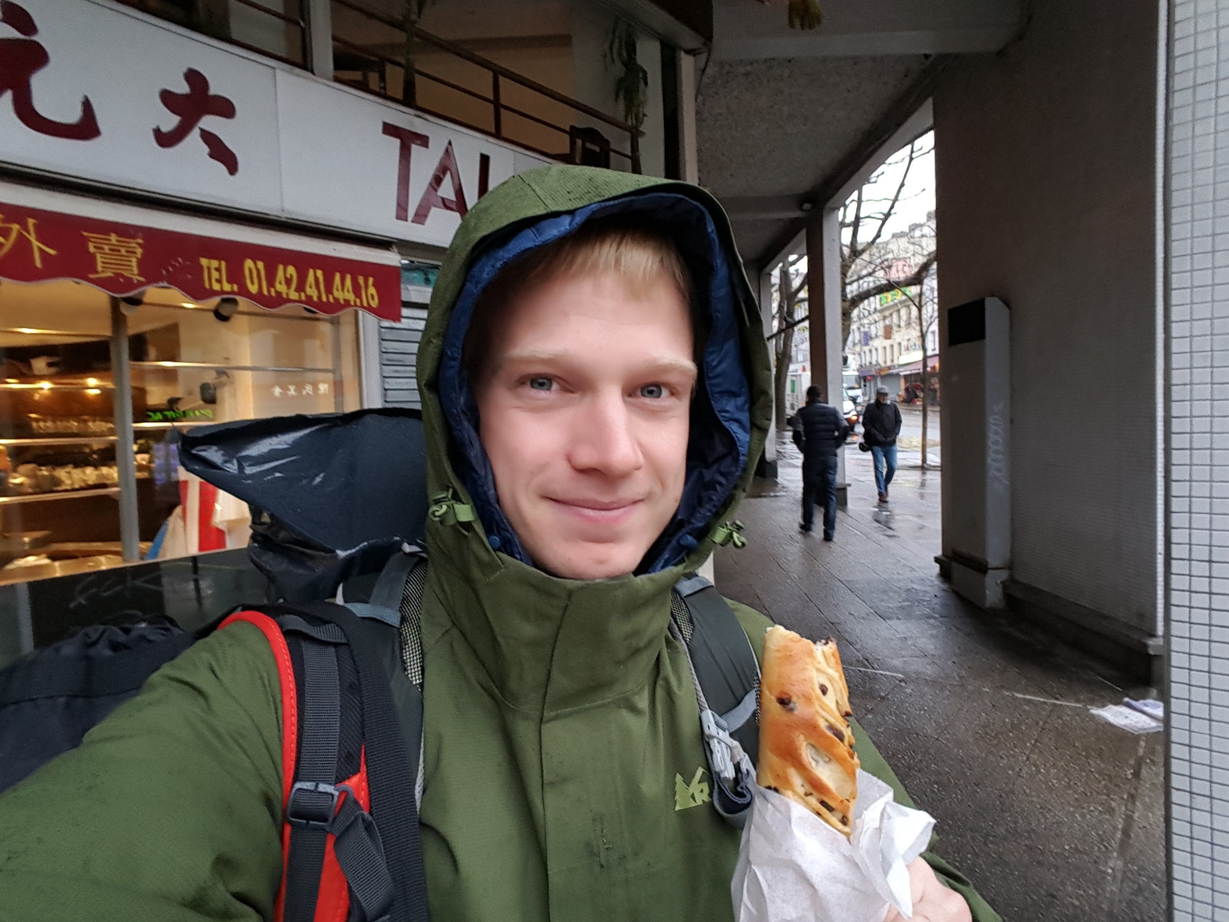 Heading to the train from Paris to Berlin. Needless to say, I was excited. Also, chocolate chip baguettes are pretty amazing.