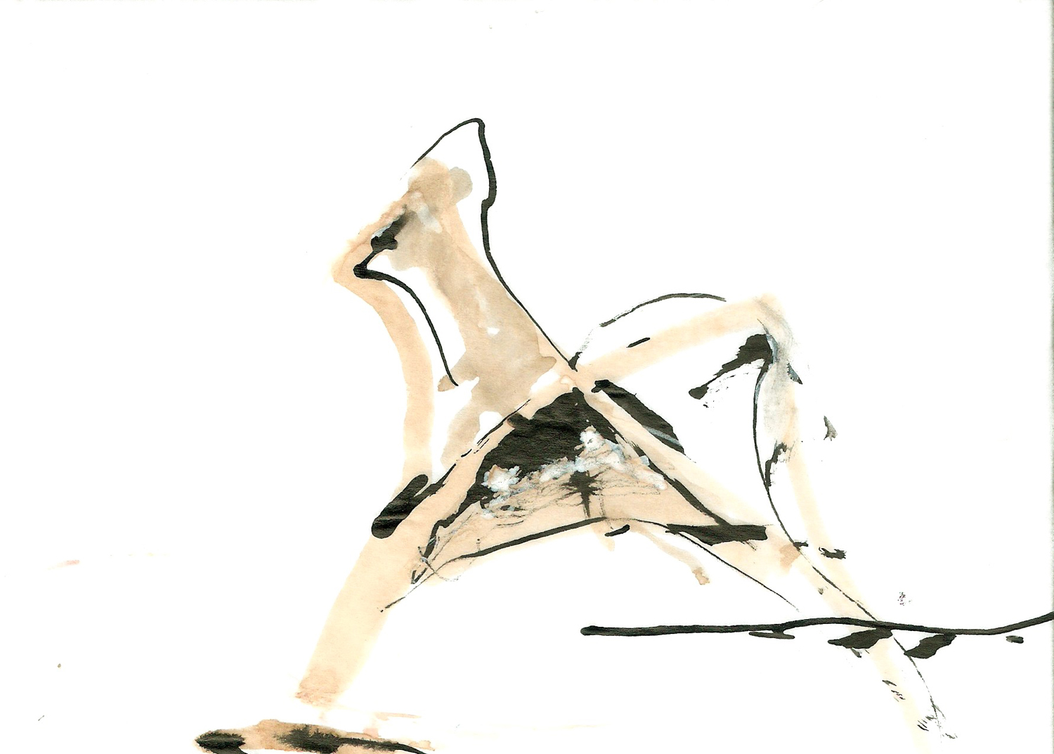 Striding, ink on paper, 6x4, 2012
