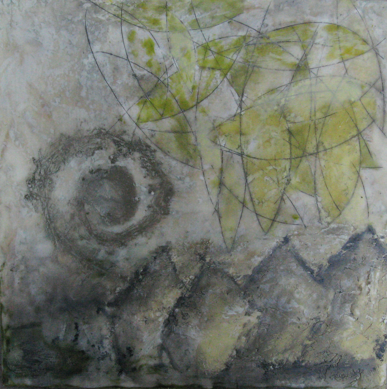 An Event in the Neighborhood, encaustic & oil on panel, 16x16, 2012