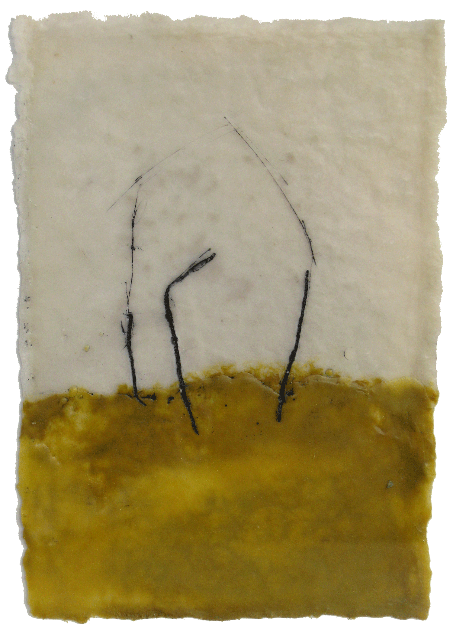Shelter, encaustic on paper, 4x5, 2009