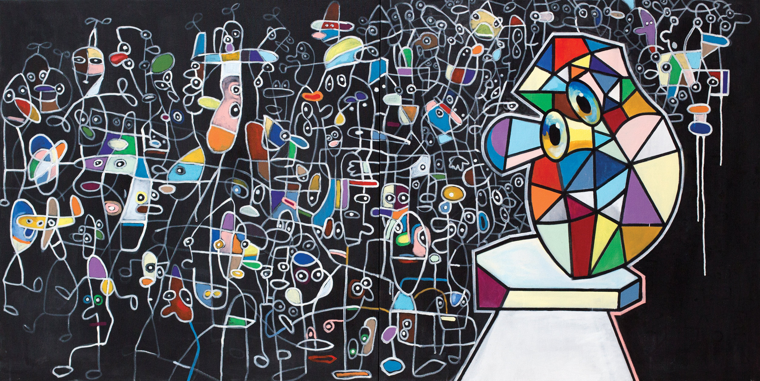 "Geometric Face in a Geometric World  acrylic on canvas 40 x 80"" 2017"