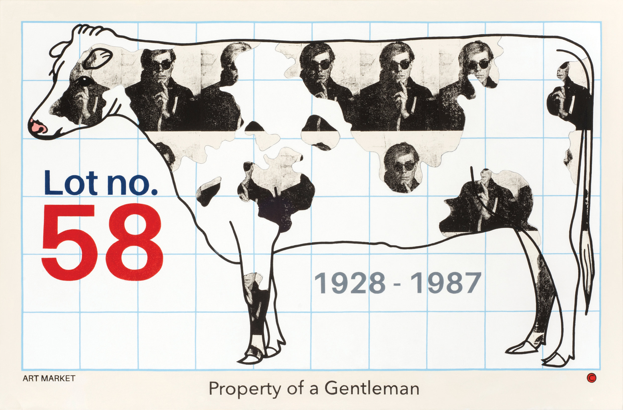 """Property of a Gentleman (Homage to Warhol)  acrylic and screen-print on canvas 46 x 70"""" 2016"""