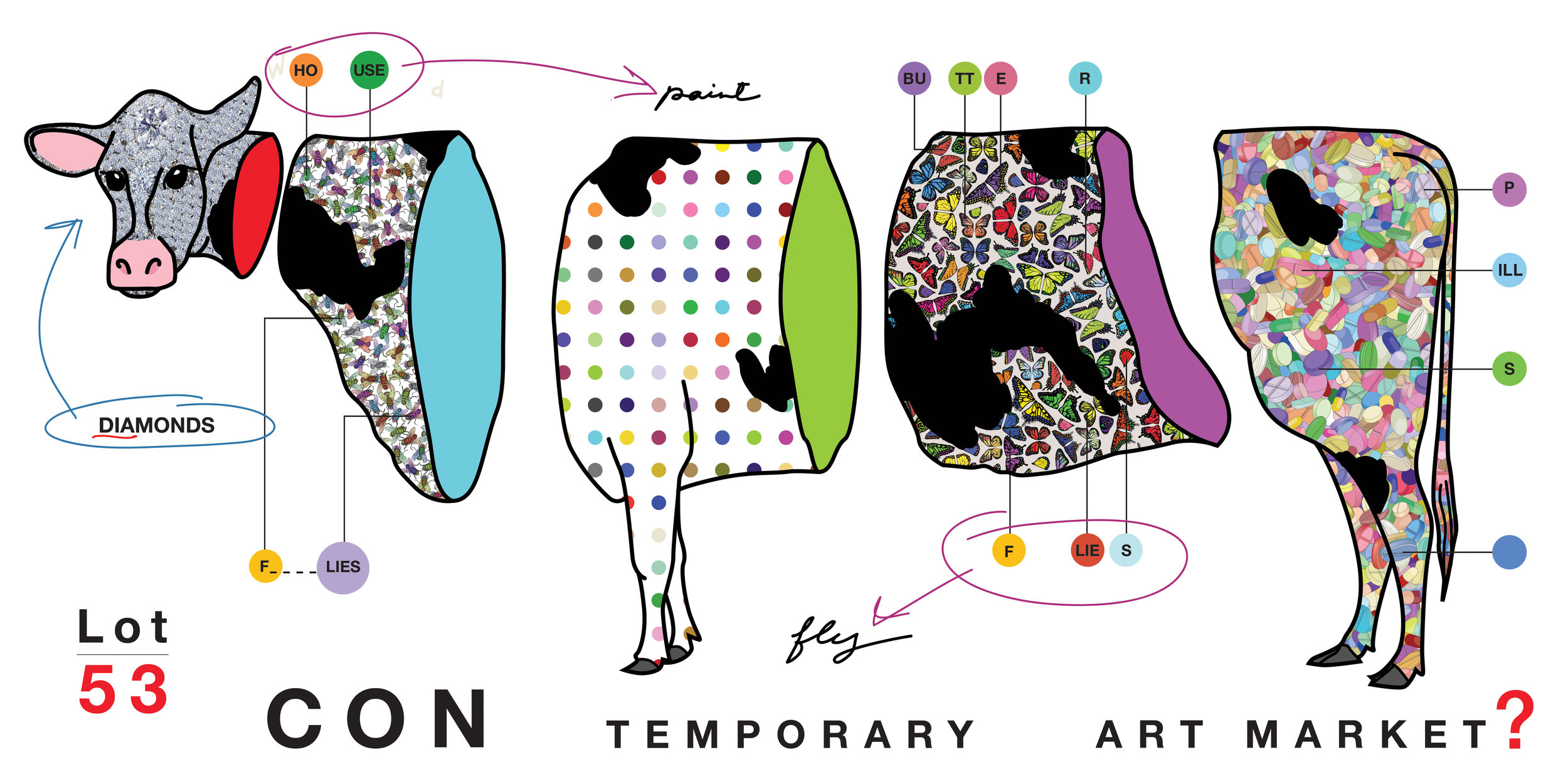 """Hirst Cow  Archival Print 40""""x60"""" 2016"""