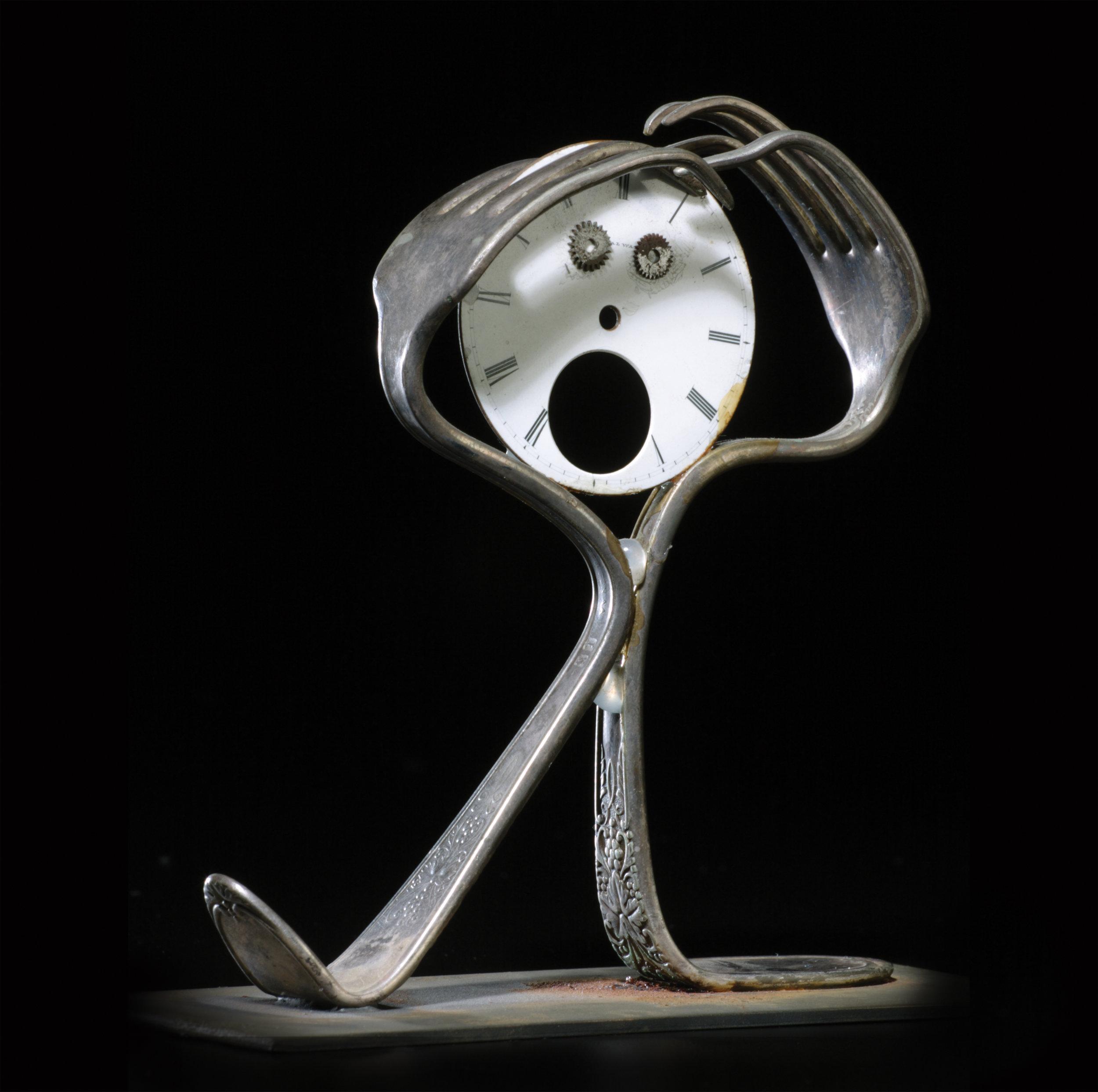 """Scream III (After Munch)  found object sculpture 3 x 8 x 1"""" 2001"""