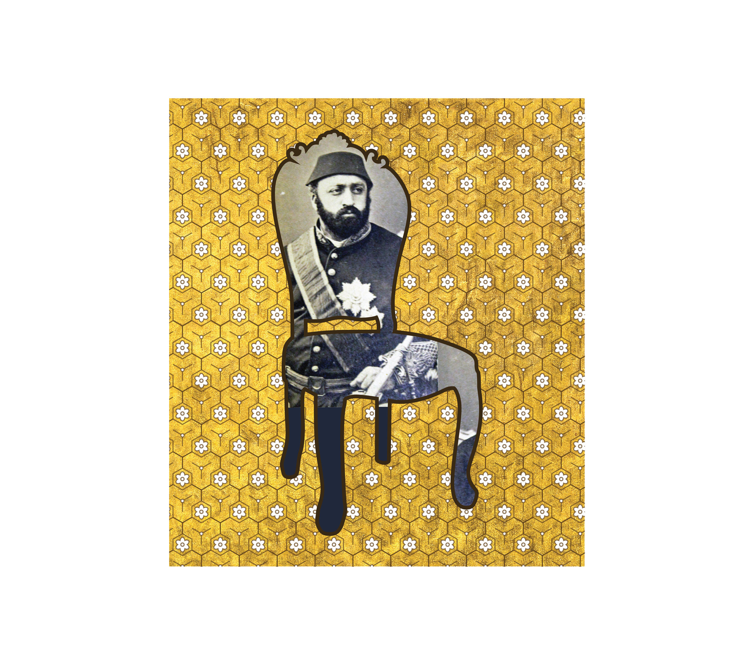 """Chair With Gold II   each archival print ed. 12  image 4 1/2 x 4"""" paper 15 1/2 x 17""""  2016"""