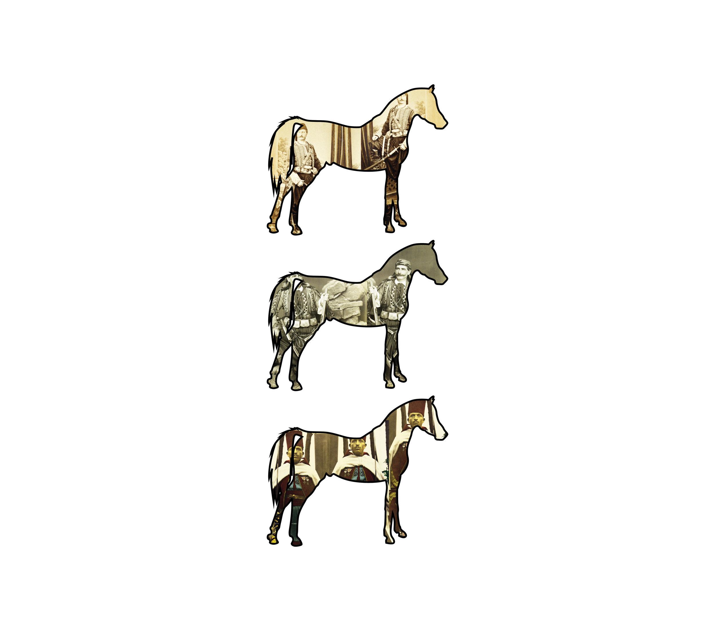 "Horses   each archival print ed. 12  image 7 x 2 7/8"" paper 15 1/2 x 17""  2016"