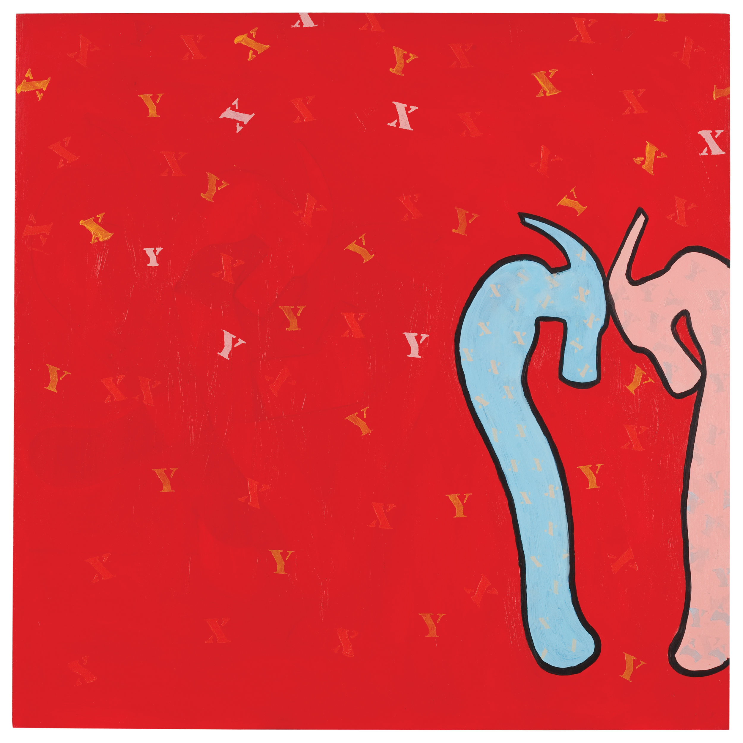 "XX YY XY (Falling in Love)   acrylic on plywood  30 x 30""  2012"