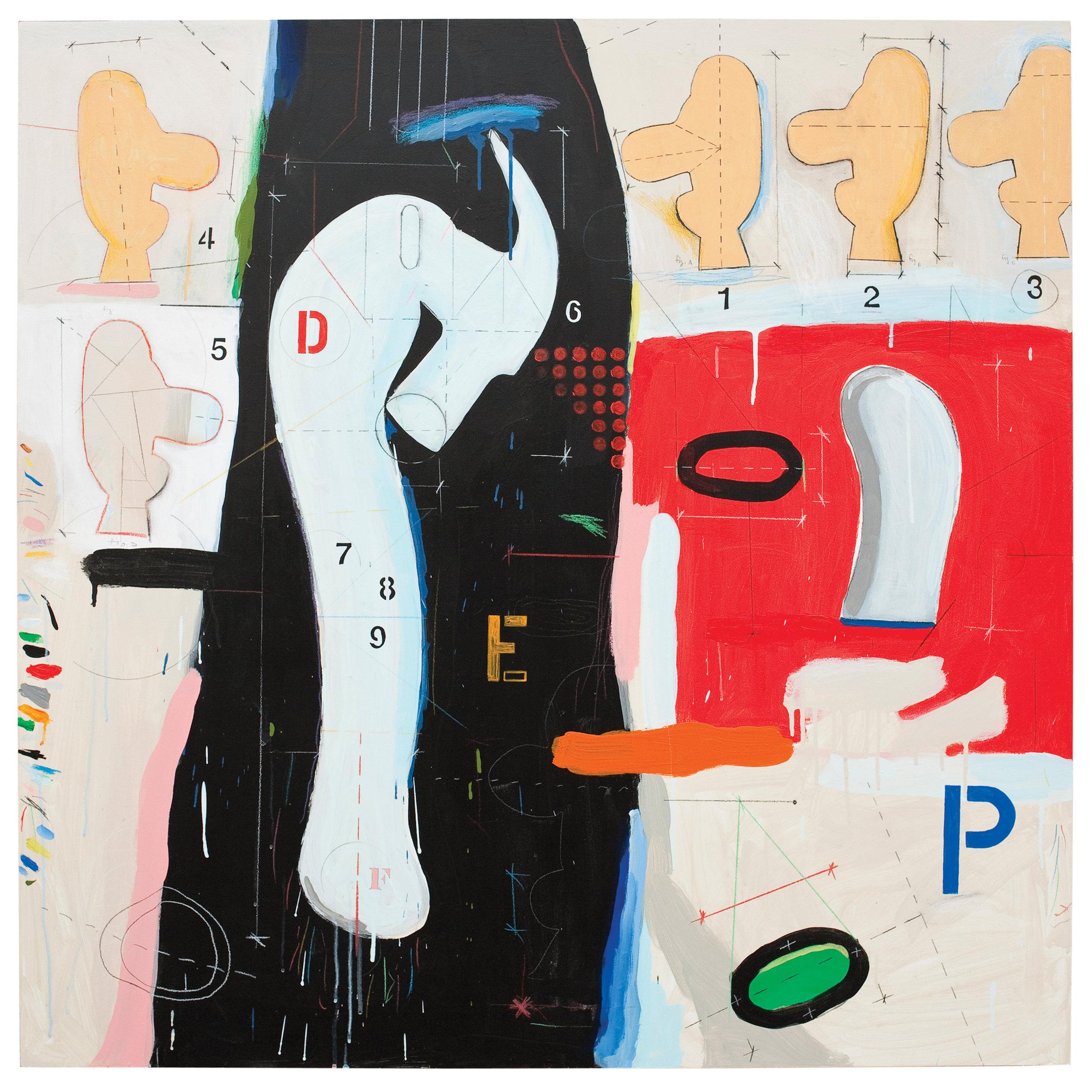 "Denial   acrylic on plywood  48 x 48""  2012"