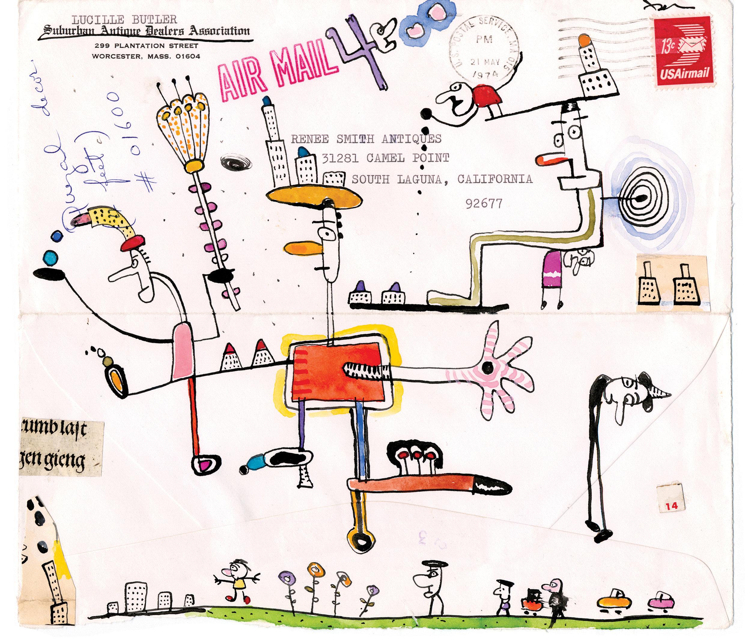 Various Envelope Drawings  mixed media on ephemera various sizes 2005-2009