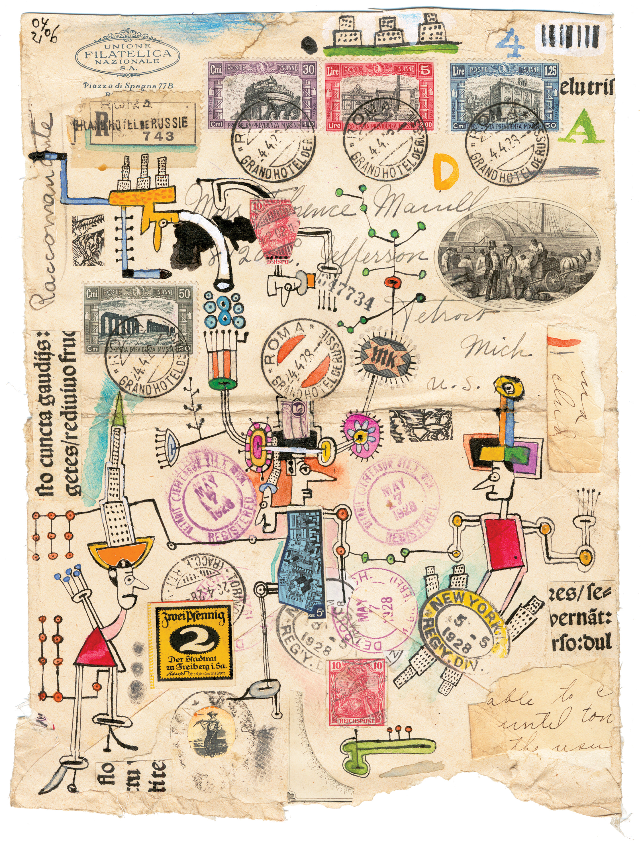Various Envelope Drawings  mixed media on ephemera various sizes 2005-2009