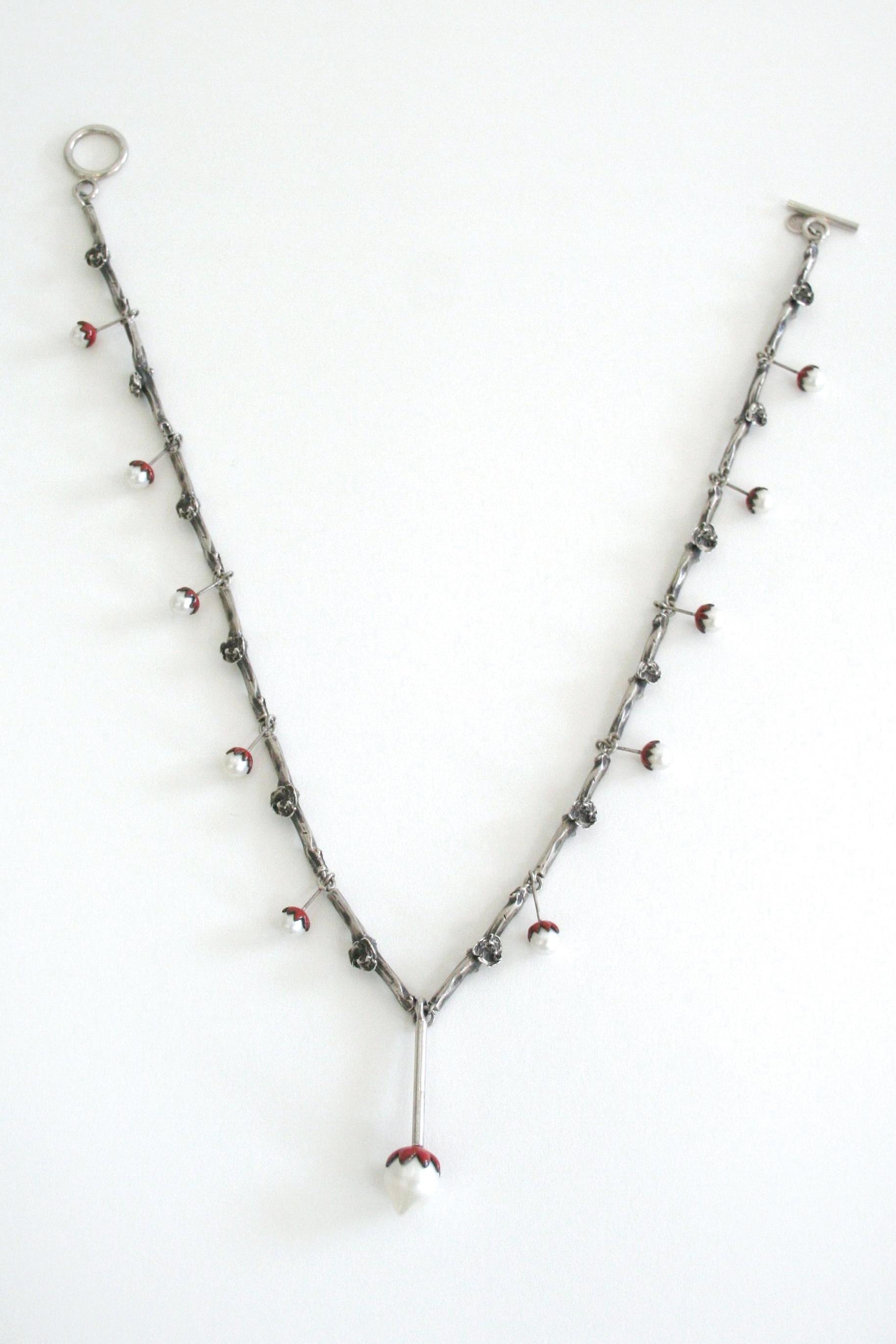 "Necklace   sterling silver, pearls, enamel  19.5"" long, .23"" wide links, 1.9"" x .46"" centerpiece"