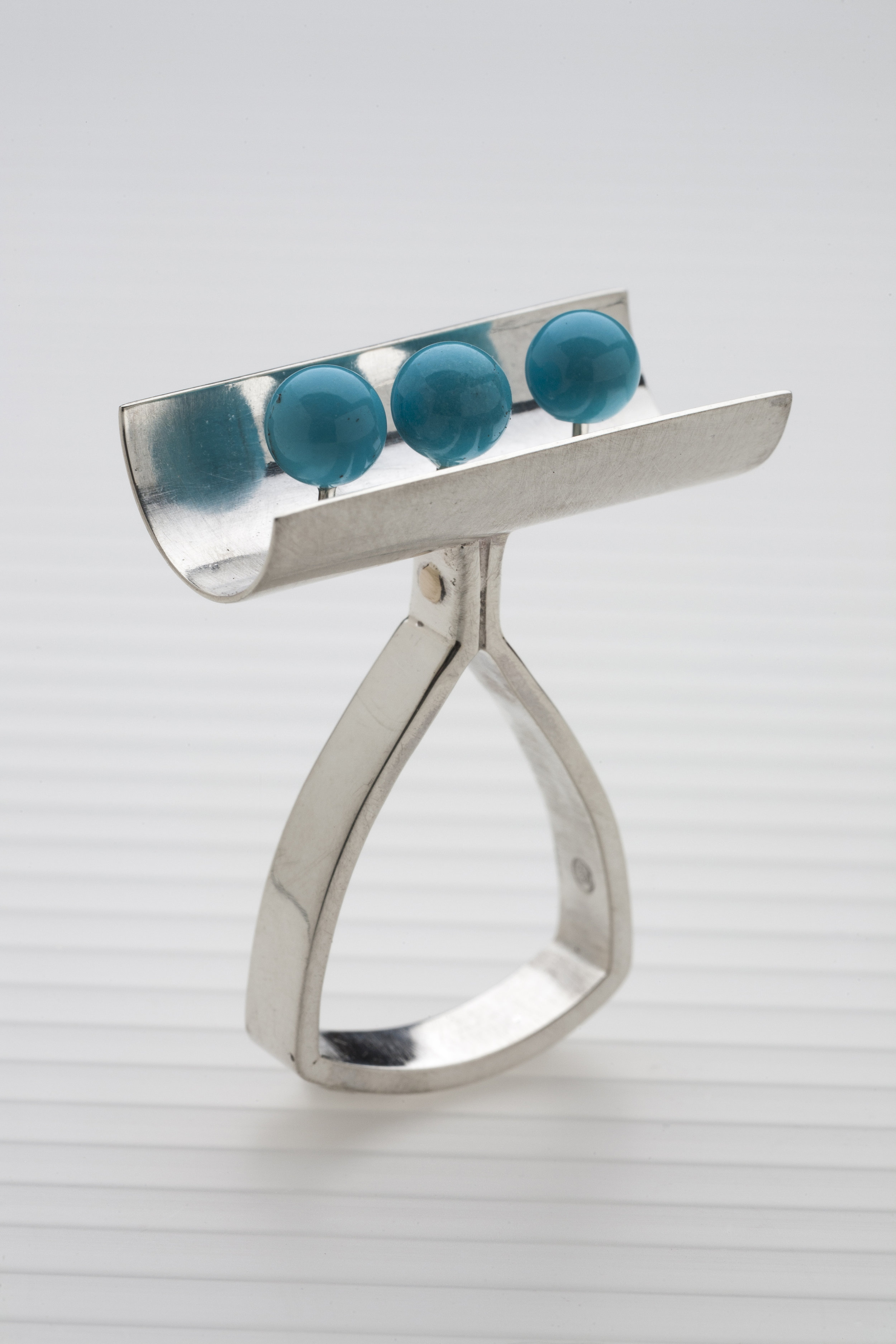 """sterling silver, turquoise, 14 kt gold  1.46"""" x 1.12"""" x .55"""""""