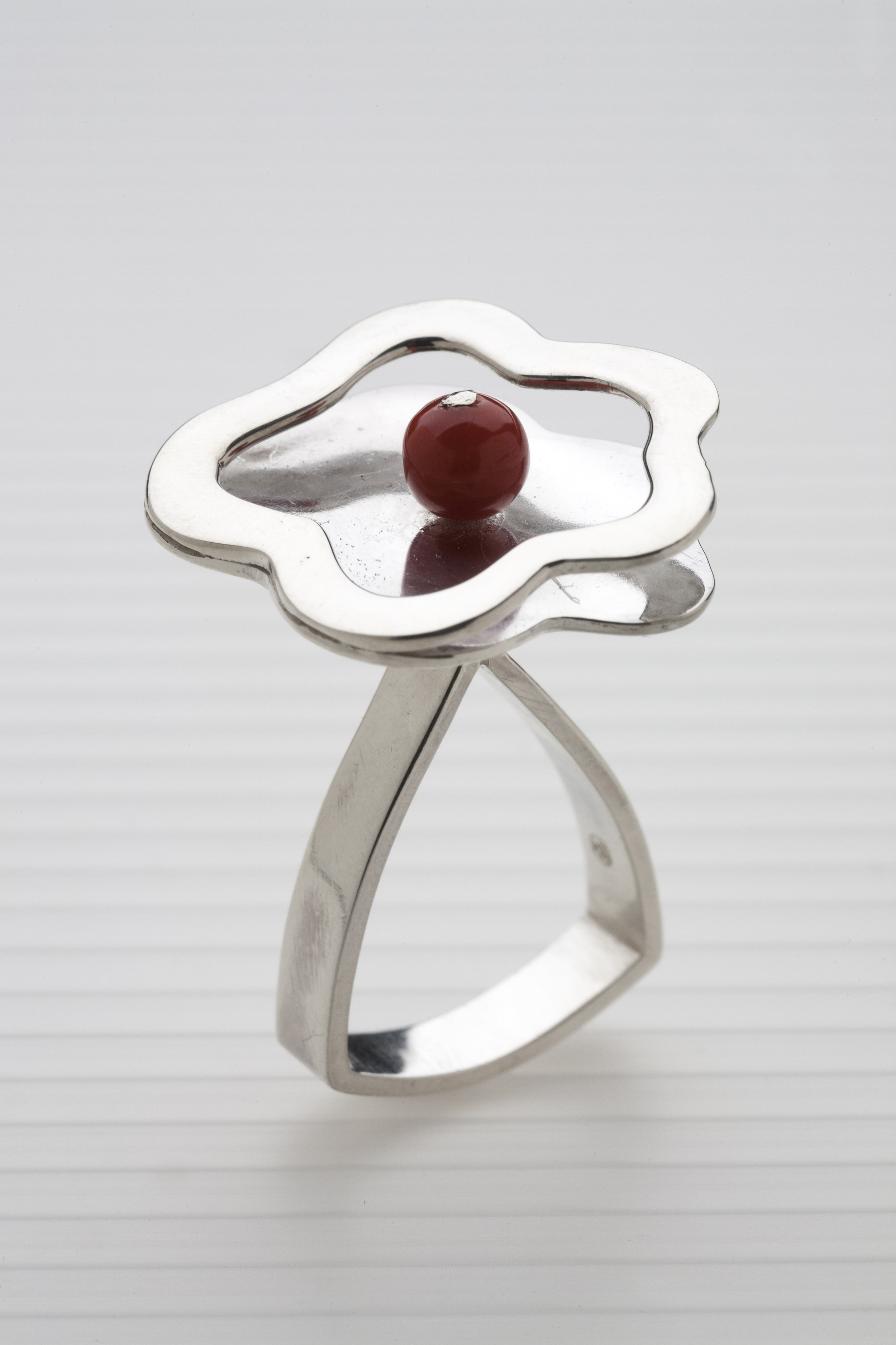 """sterling silver, coral, 14 kt gold  3"""" x 2.75"""" x .75"""""""