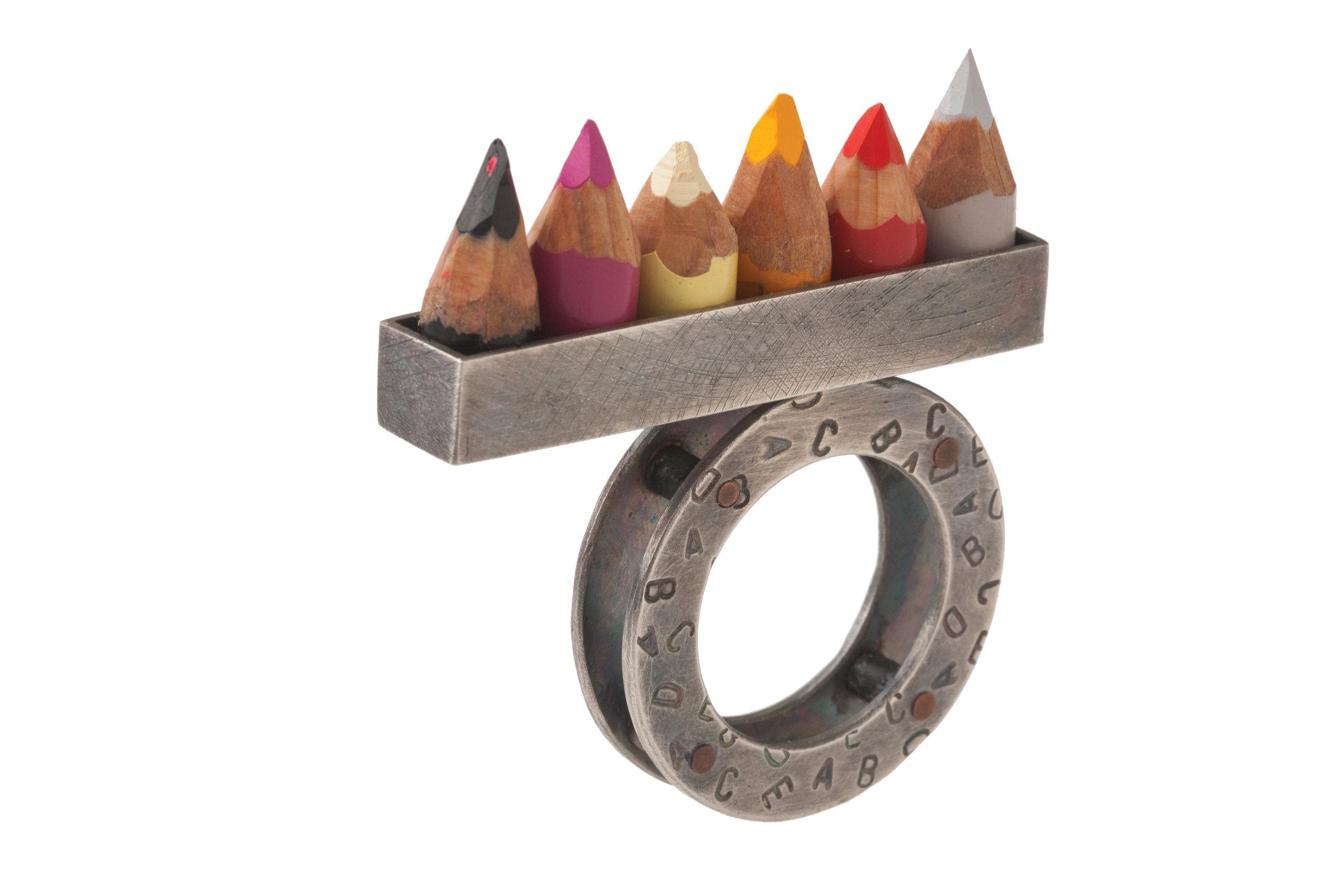 "sterling silver, copper, pencils  2"" x 1.5"" x .5"""