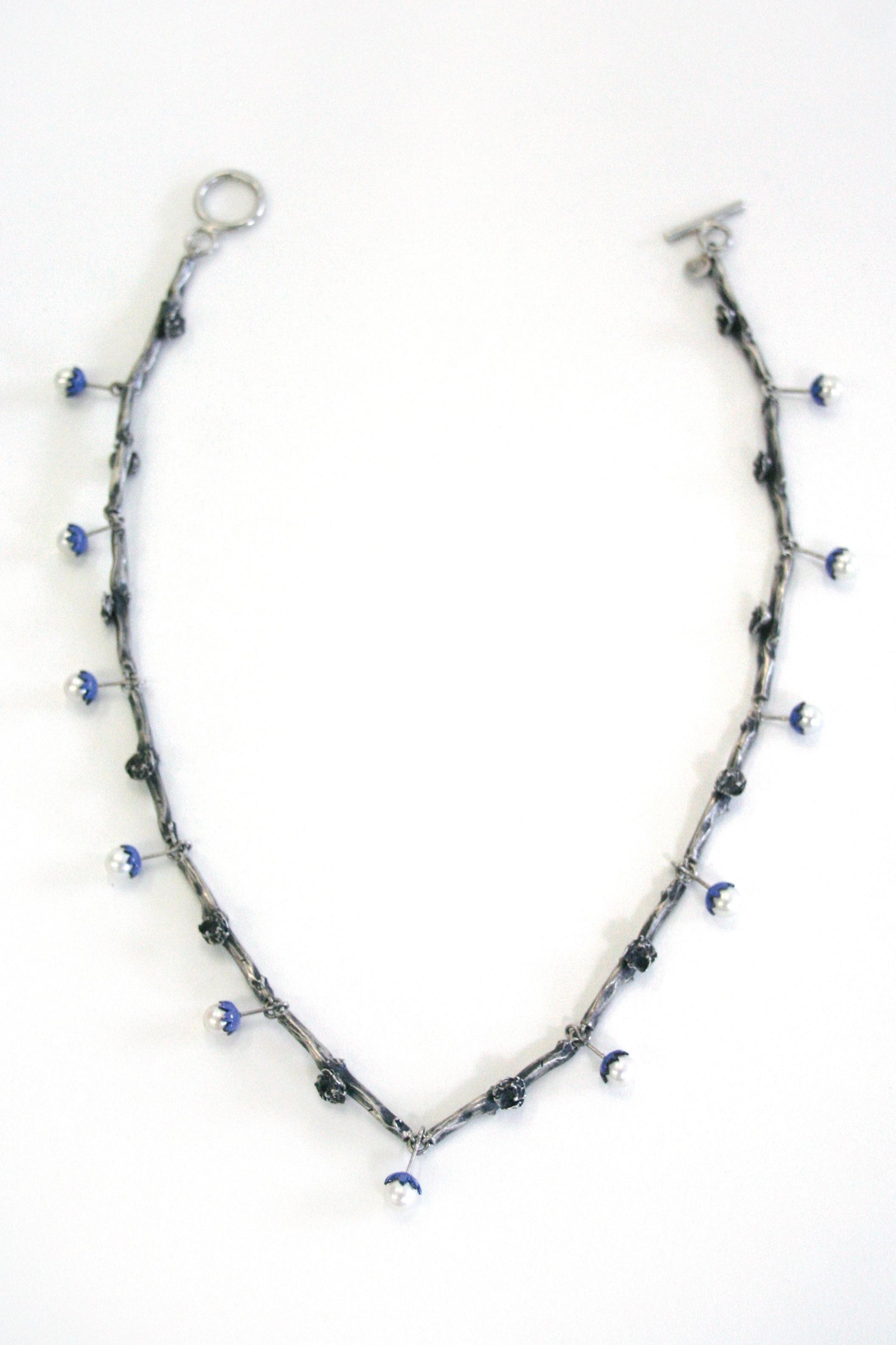 "Necklace   sterling silver, pearls, enamel  19.4"" long, .23"" wide links"