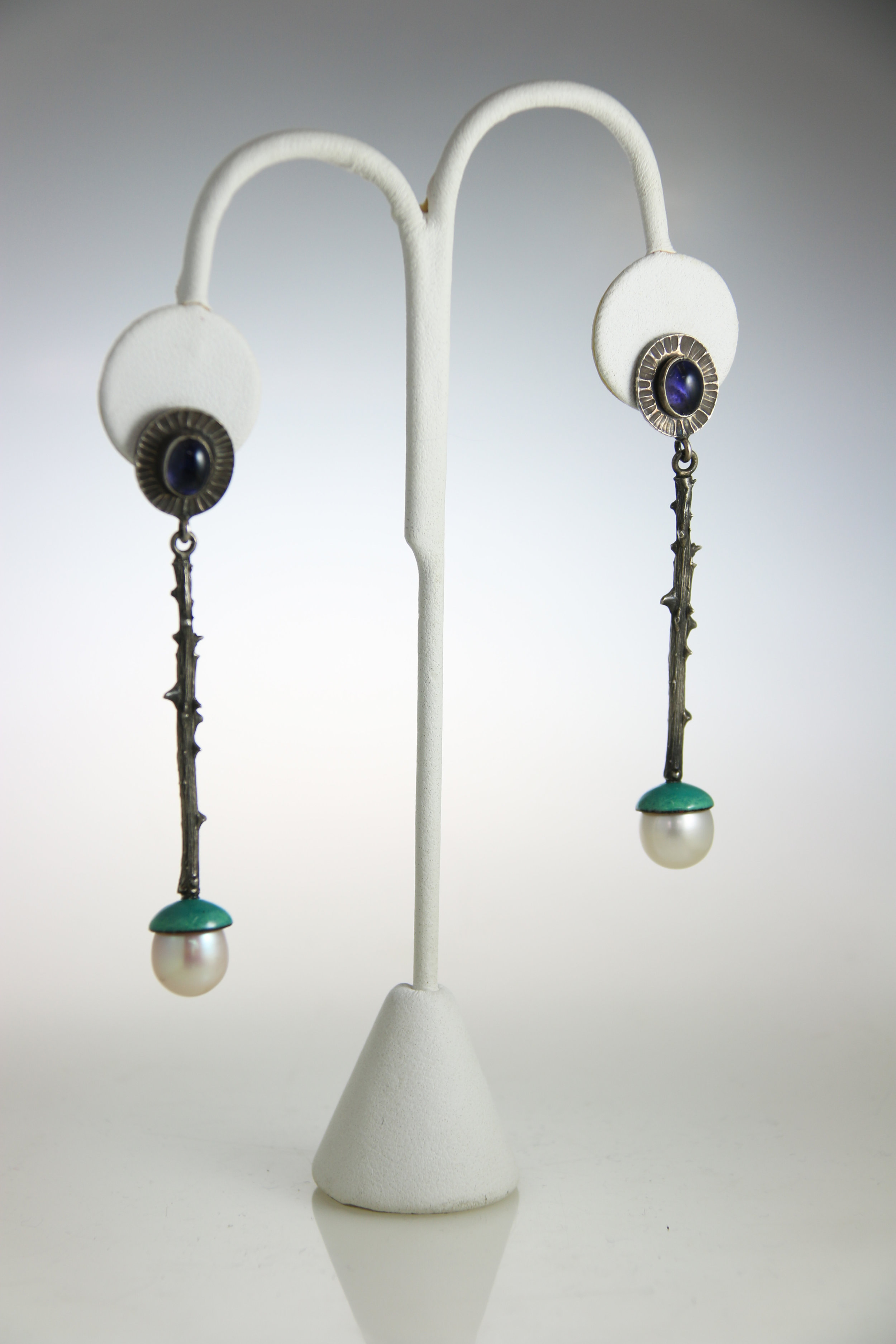 """Earrings   sterling silver, pearls, enamel, gemstones  1.75"""" x .51"""" x .45""""  other variations available"""
