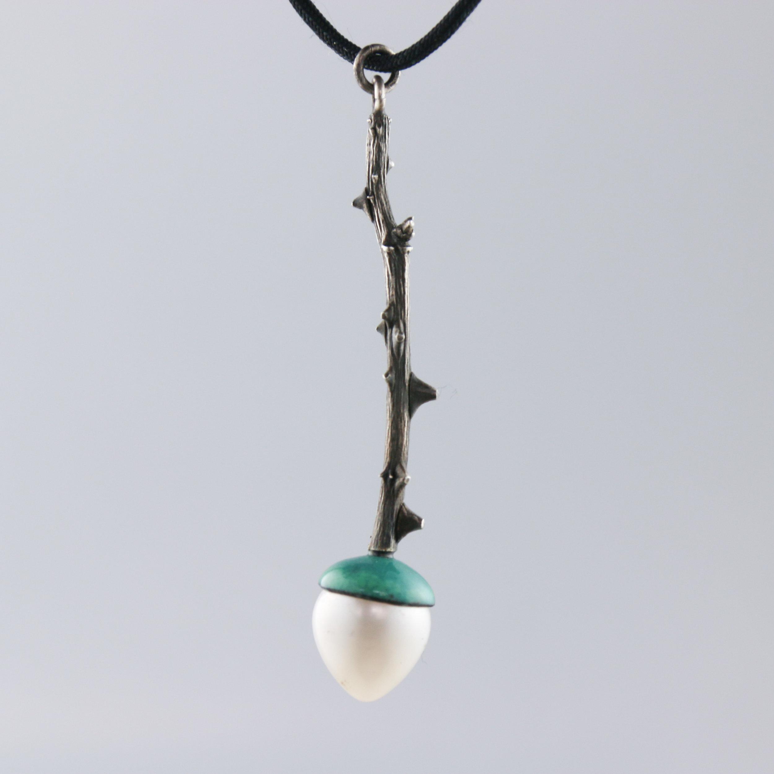 Pendant   sterling silver, pearls, enamel